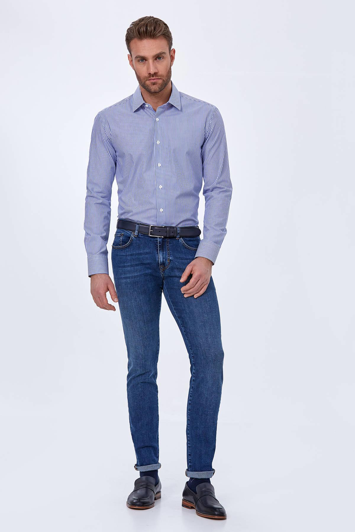 Pamuk Slim Fit Mavi Denim Pantolon