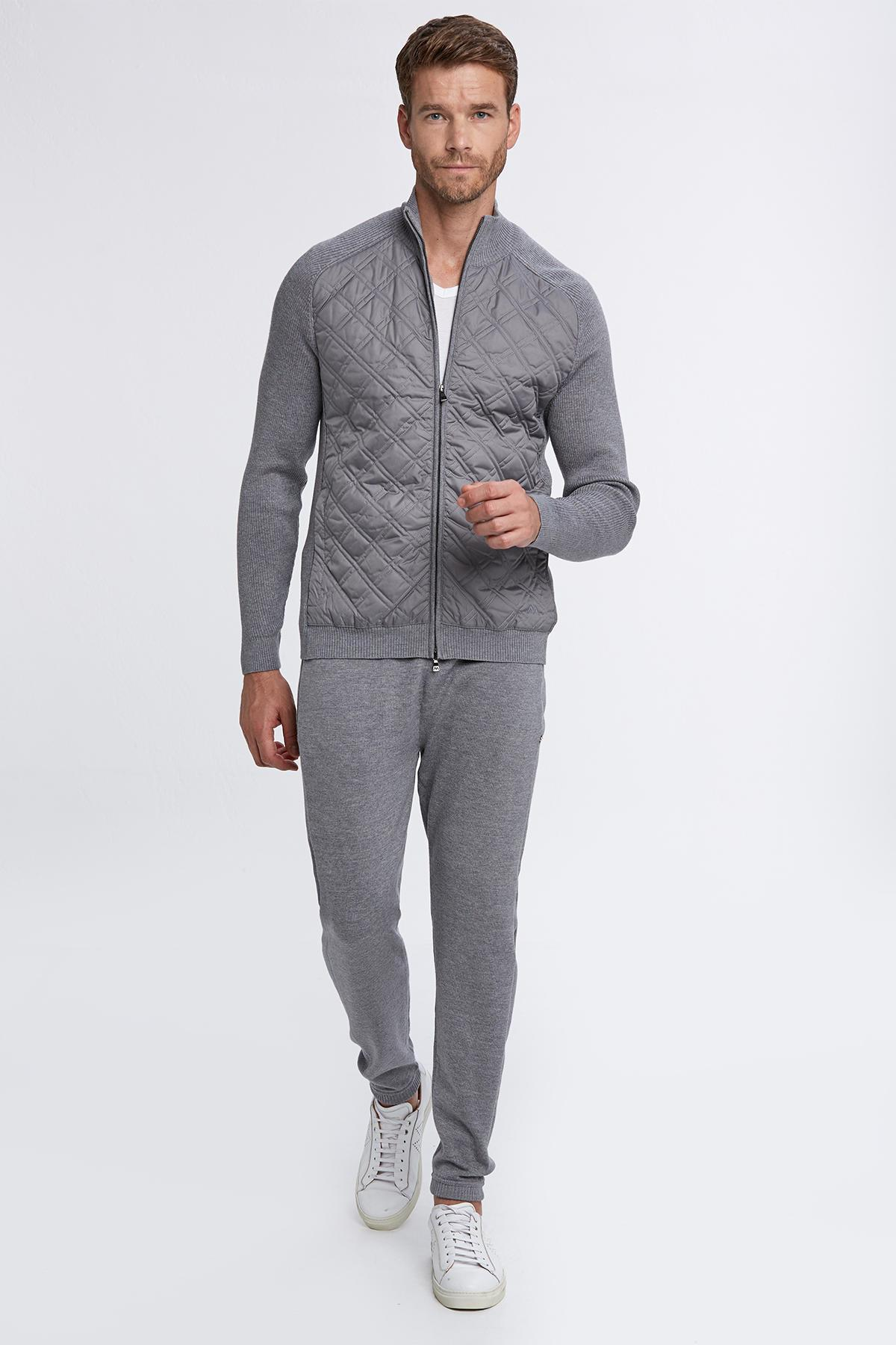 Merino Yün Açık Gri Activewear Triko Mont