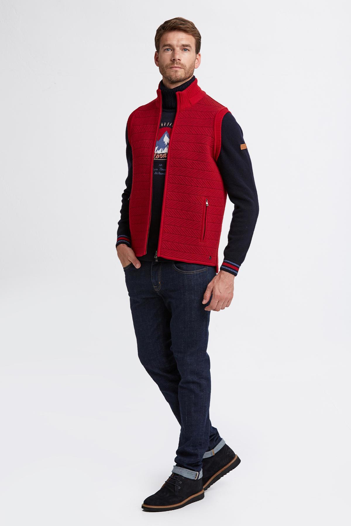 Merino Yün Koyu Kırmızı Activewear Triko Yelek