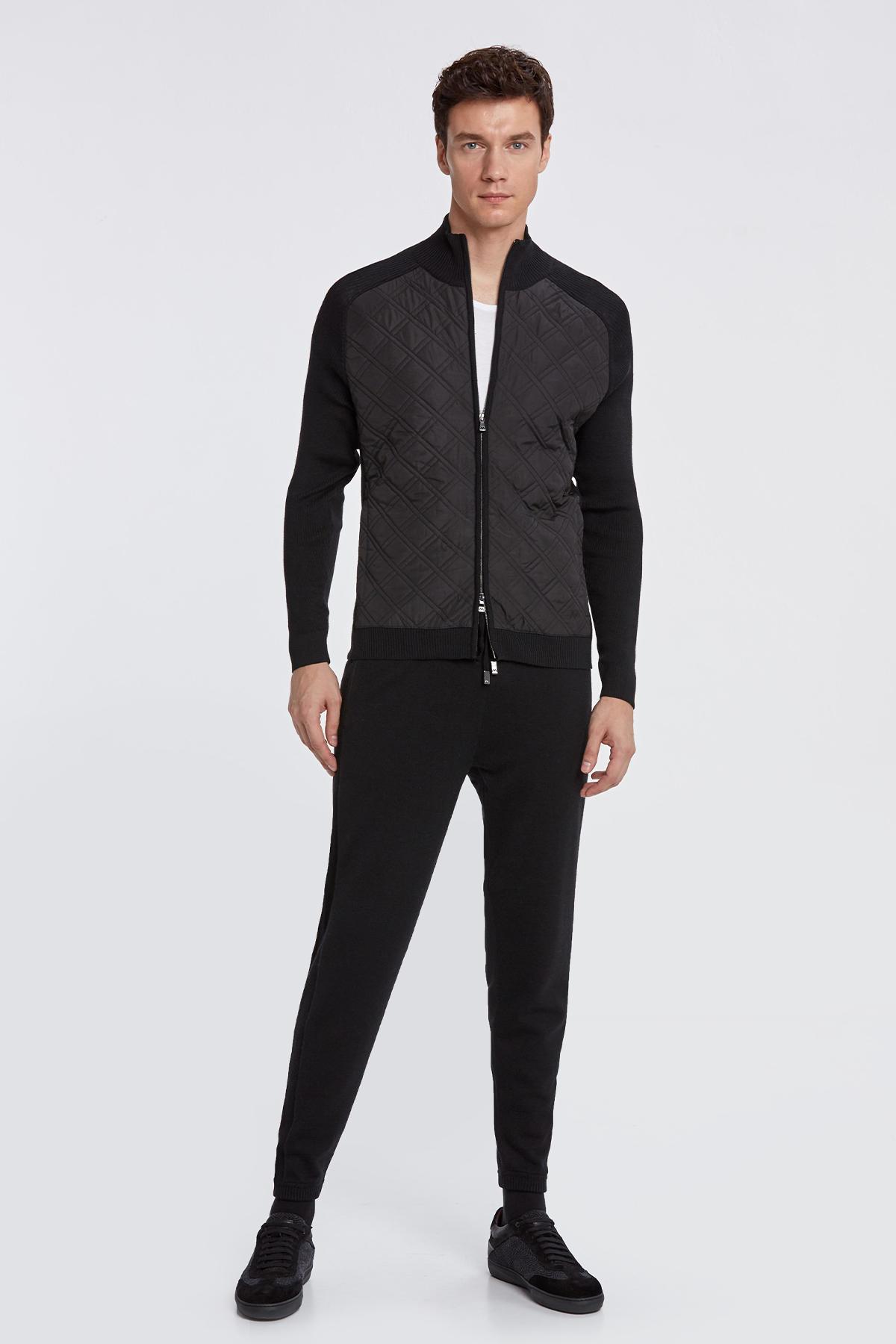 Merino Yün Desenli Siyah Activewear Triko Mont