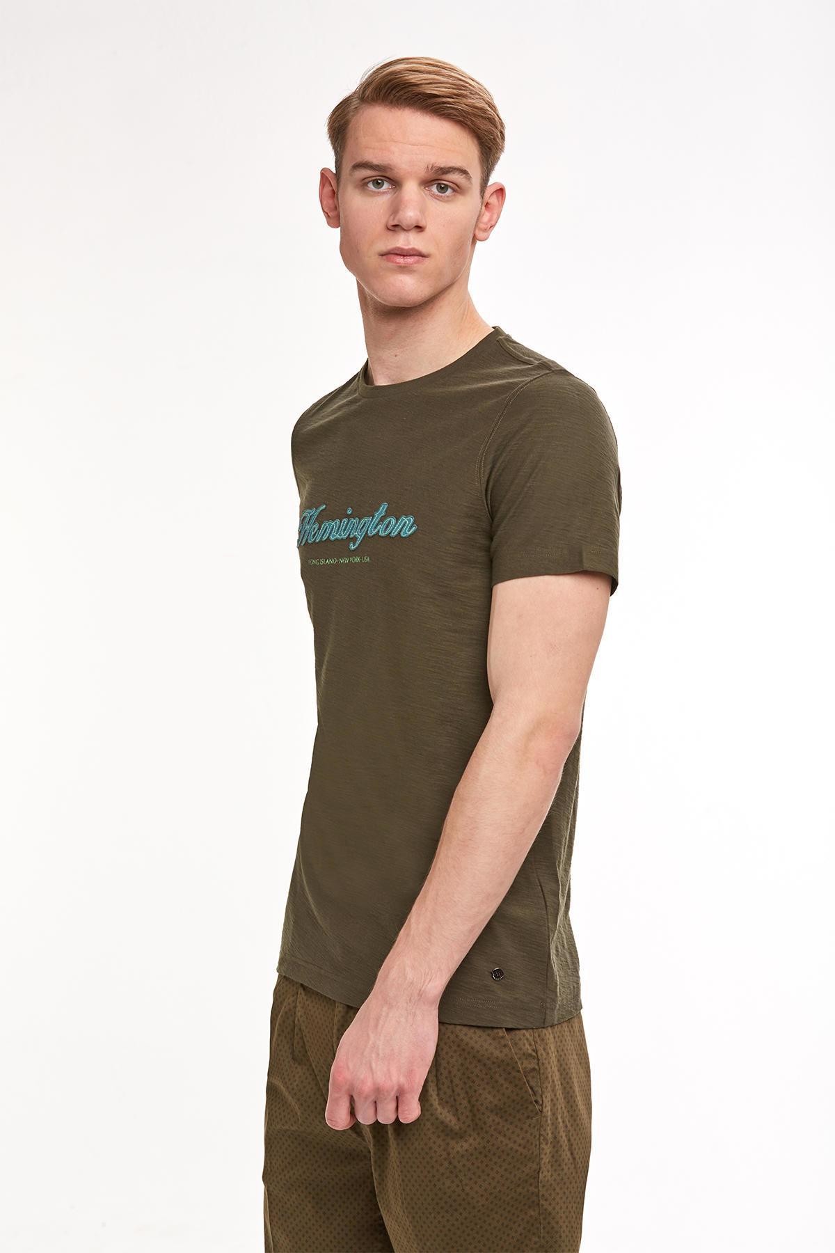 Nakış Logolu Haki Bisiklet Yaka T-shirt