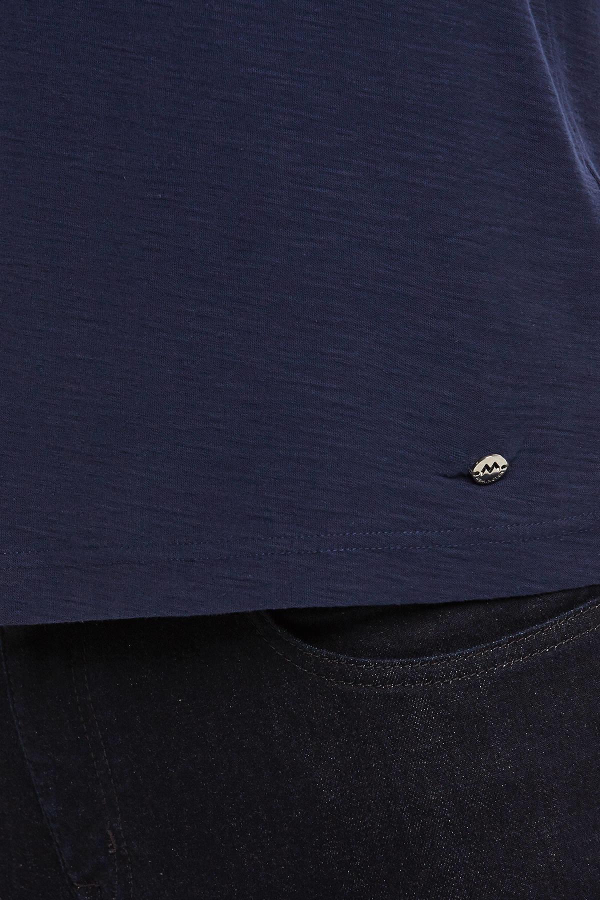 Nakış Logolu Lacivert Bisiklet Yaka T-shirt