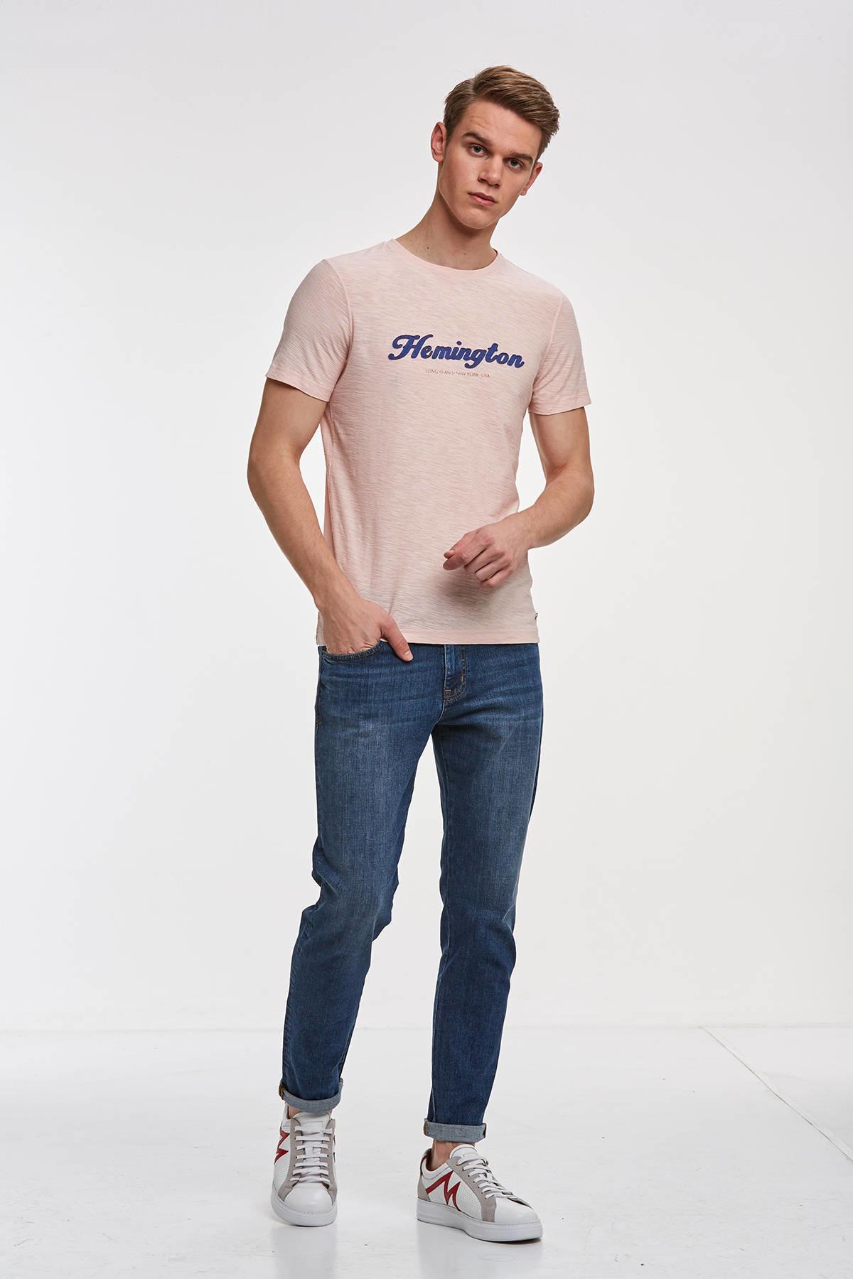 Nakış Logolu Pembe Bisiklet Yaka T-shirt