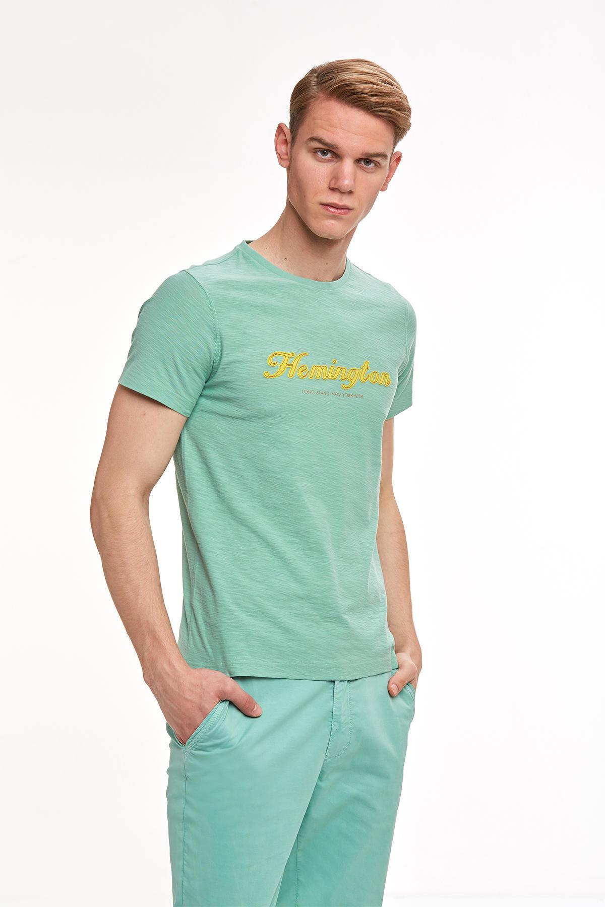 Nakış Logolu Yeşil Bisiklet Yaka T-shirt