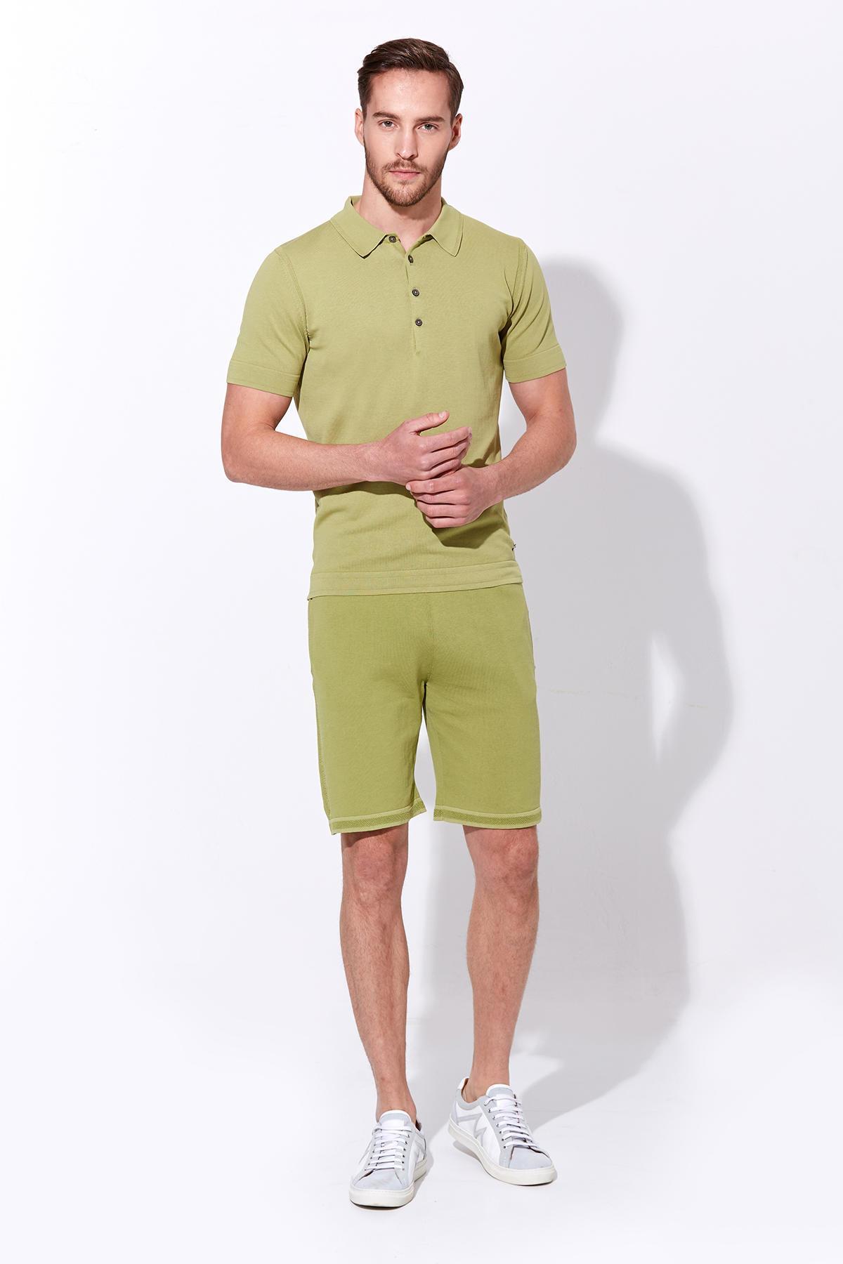 Yeşil Vintage Görünüm Triko Polo T-Shirt