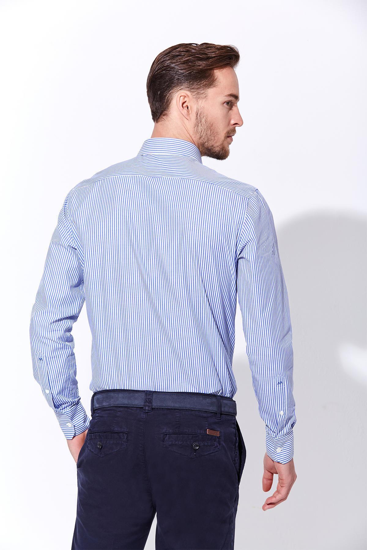 Koyu Mavi Beyaz Çizgili Pamuk Gömlek
