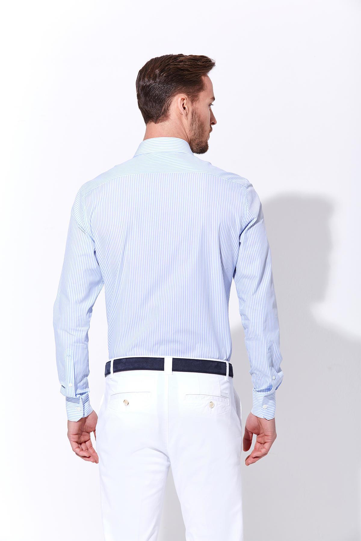 Açık Mavi Beyaz Çizgili Pamuk Gömlek