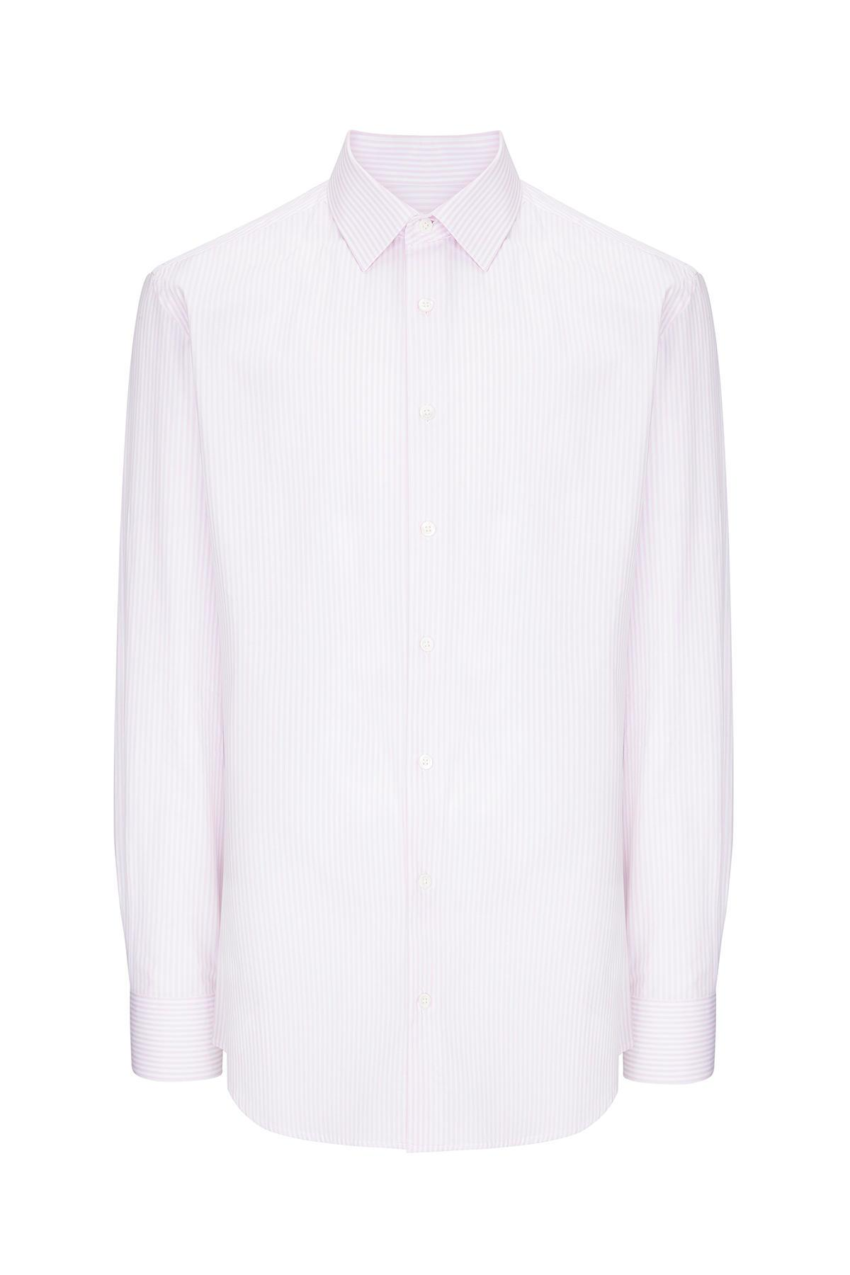 Pembe Beyaz Çizgili Pamuk Gömlek