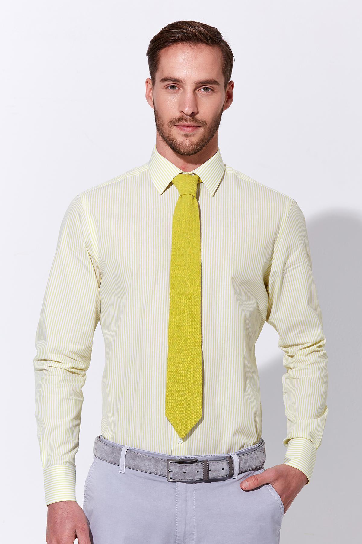 Sarı Beyaz Çizgili Pamuk Gömlek