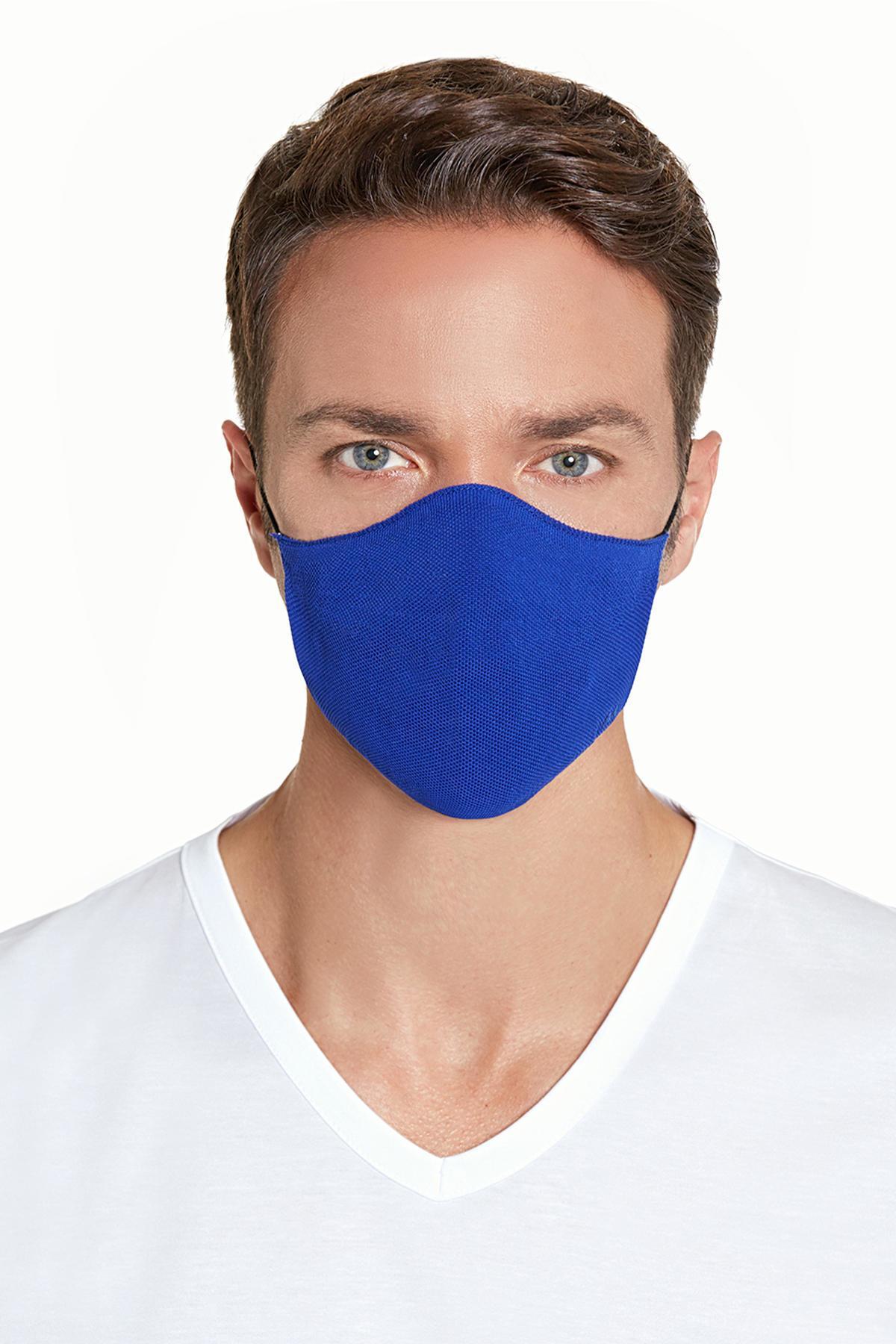 Pamuk Yıkanabilir Mavi Triko Maske