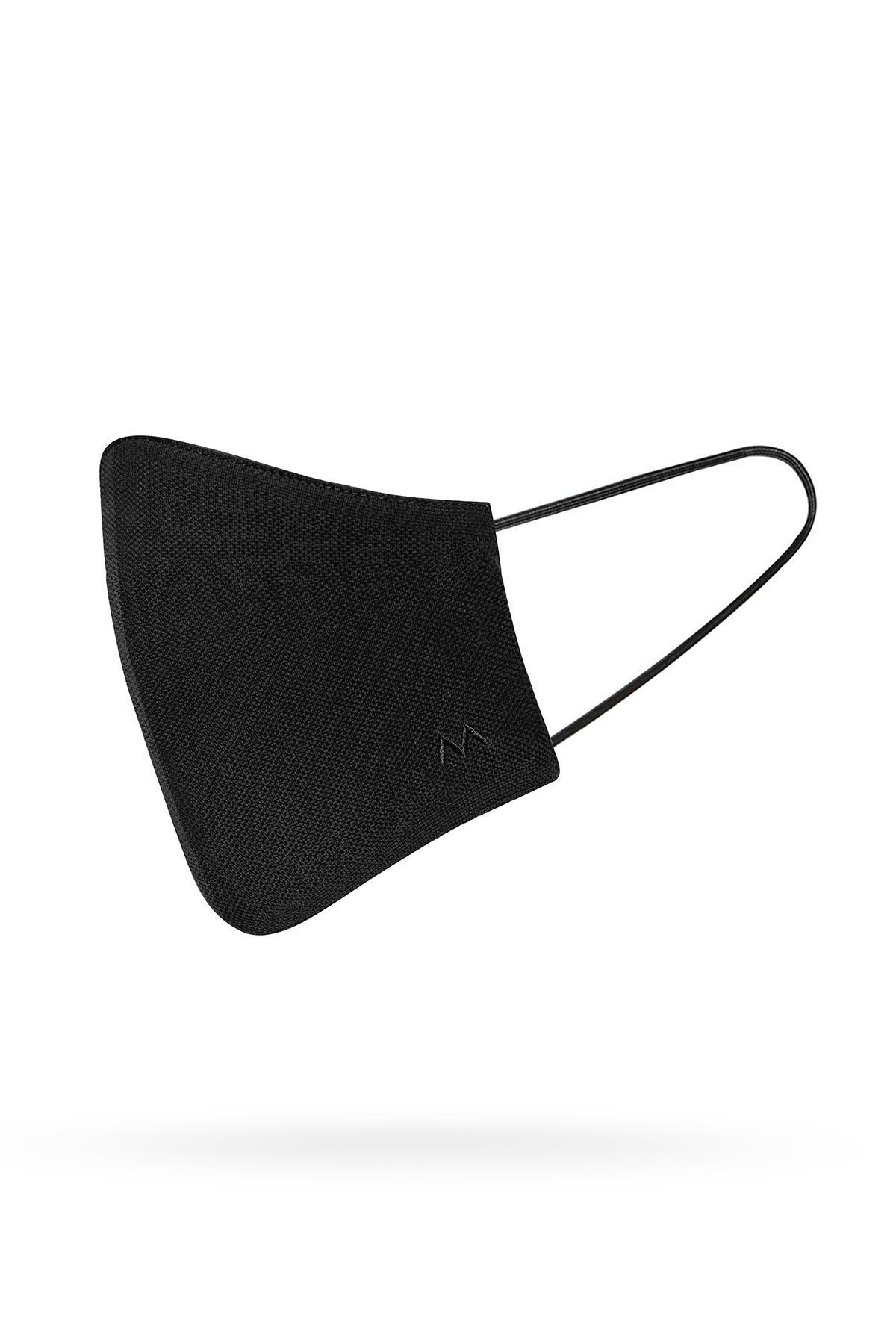 Pamuk Yıkanabilir Siyah Triko Maske