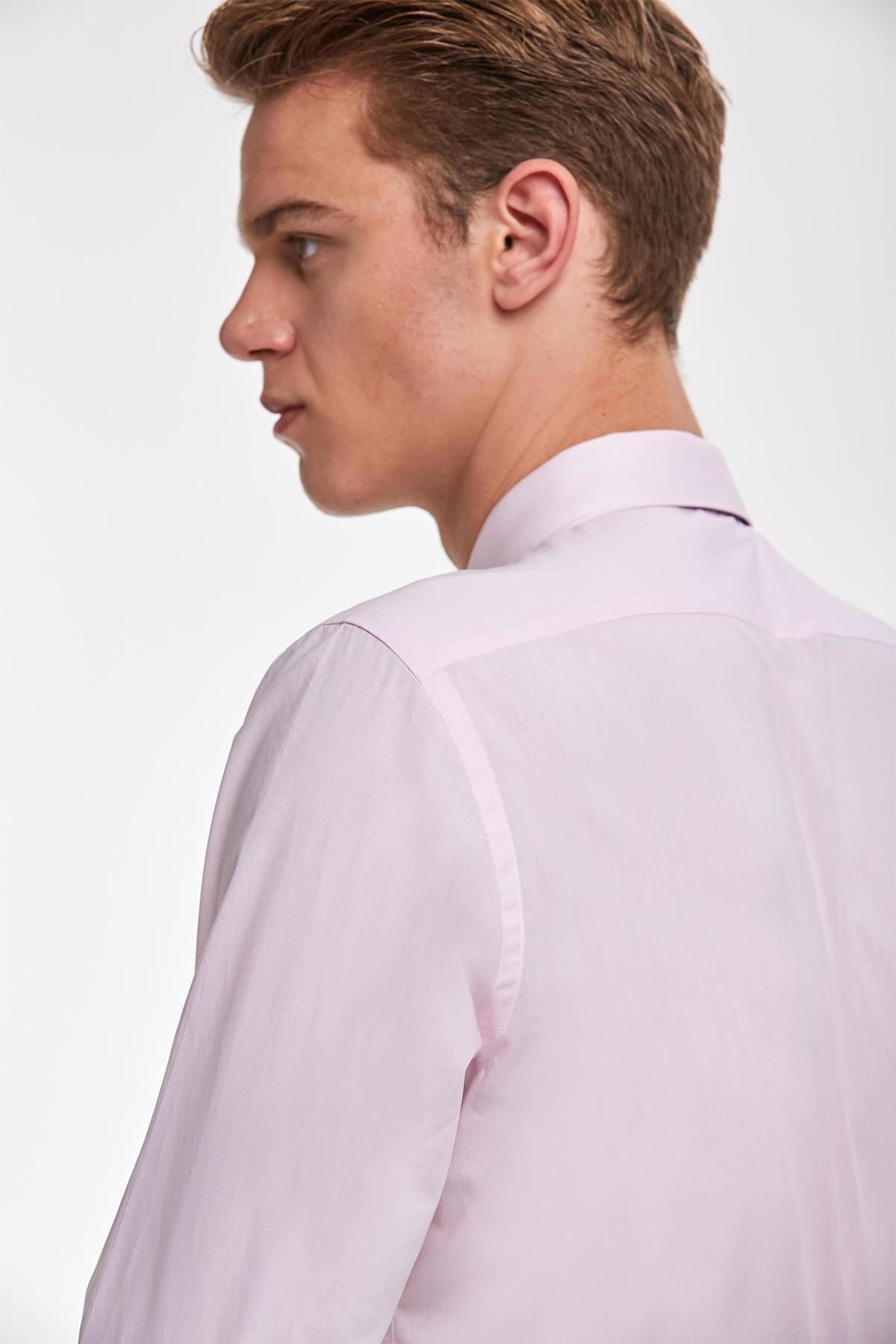 Pembe İtalyan Yaka Pamuk Business Gömlek