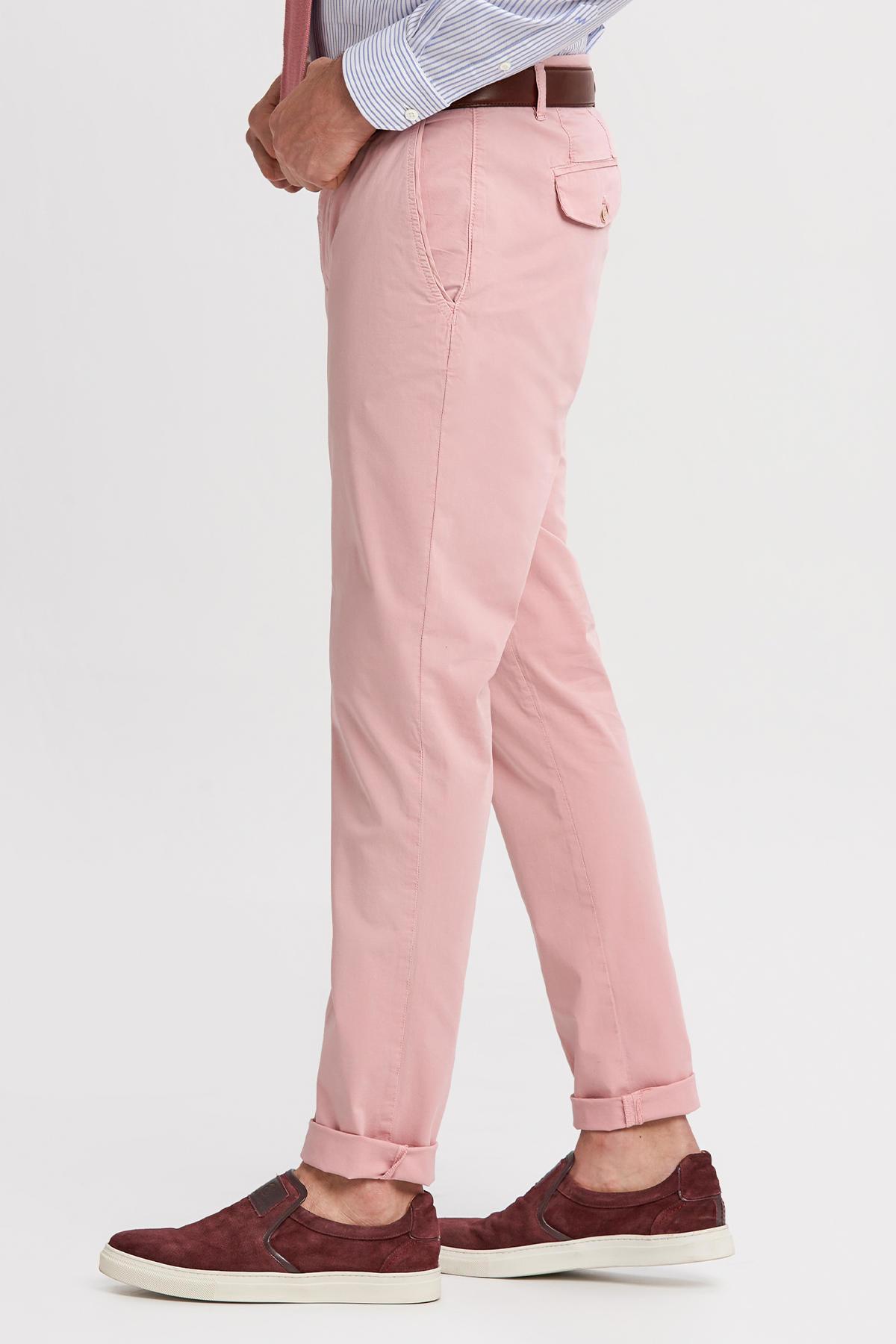 Pembe Pamuk Yazlık Chino Pantolon