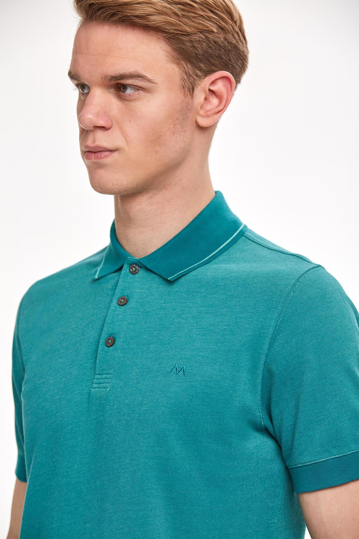 Pike Örgü Mavi Polo Yaka T-Shirt