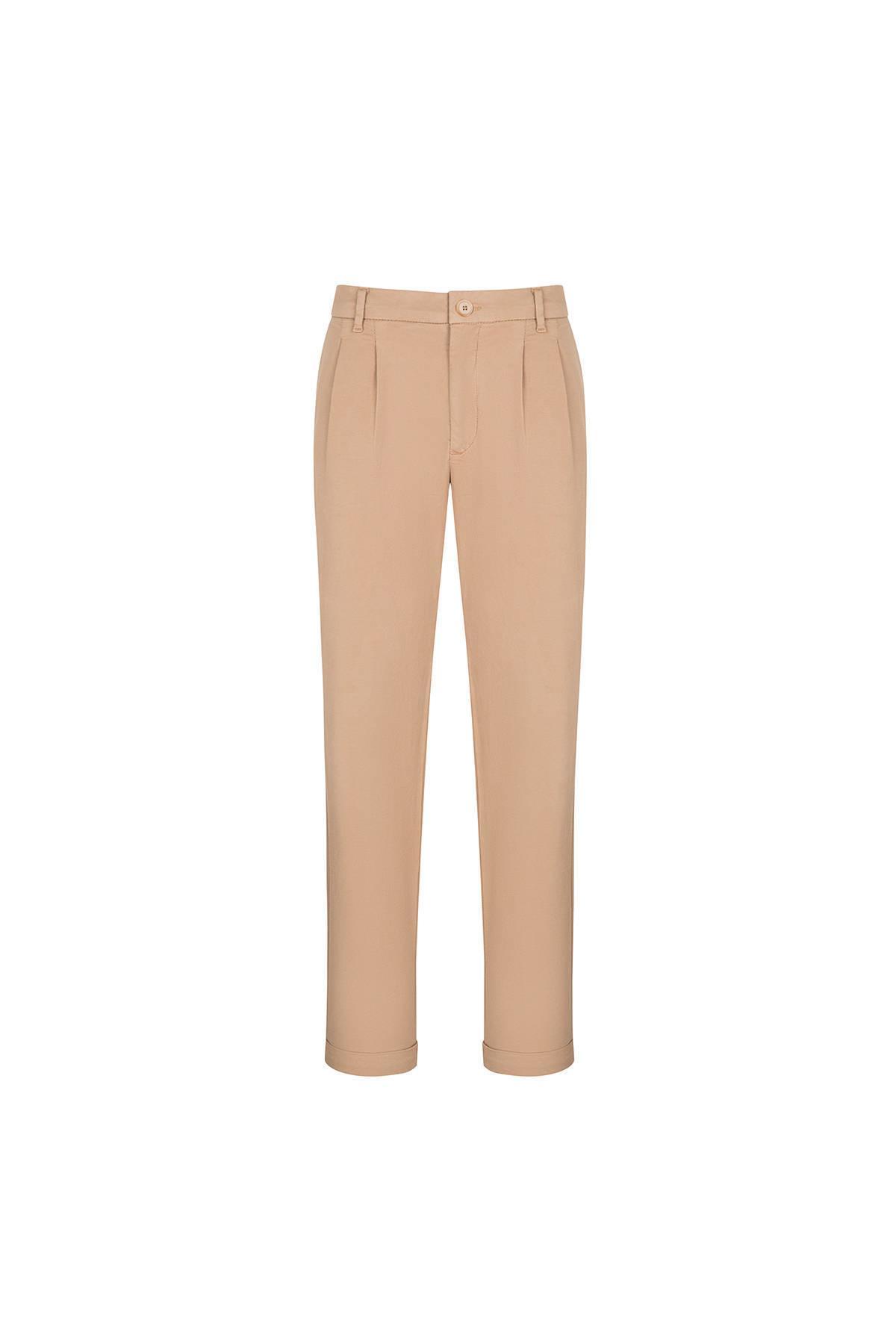 Pileli Camel Chino Pantolon