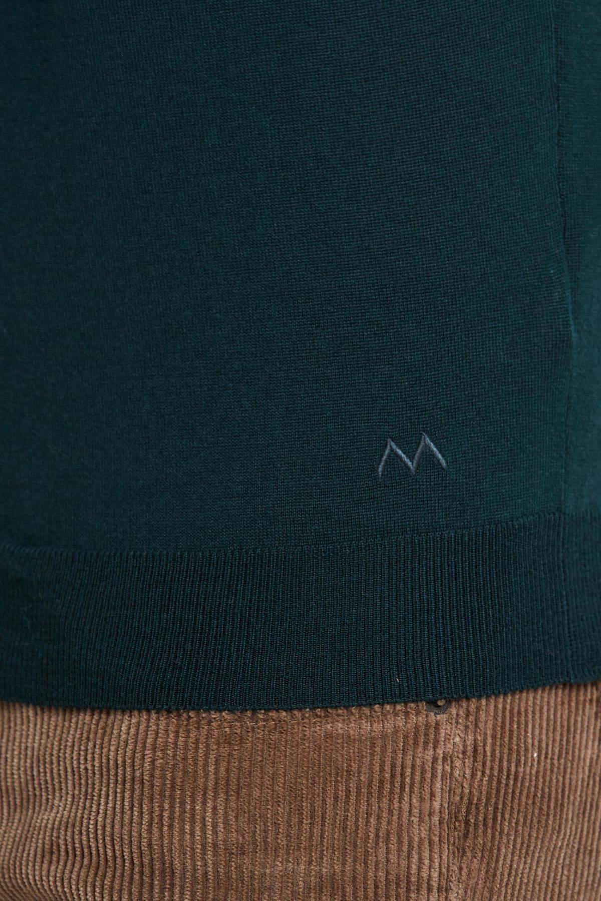 Polo Yaka Koyu Yeşil Merino Yün Triko