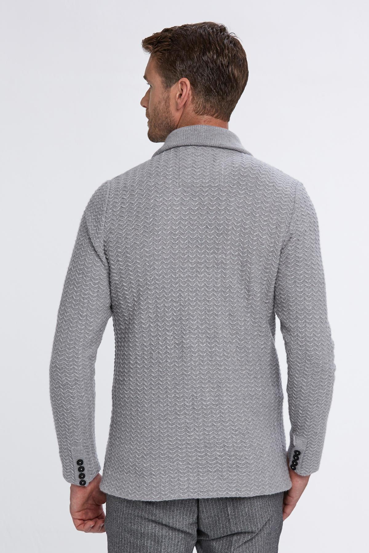 Saf Kaşmir Açık Gri Triko Ceket