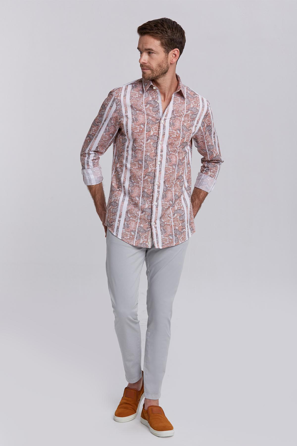 Şal Desen Somon Rengi Business Gömlek