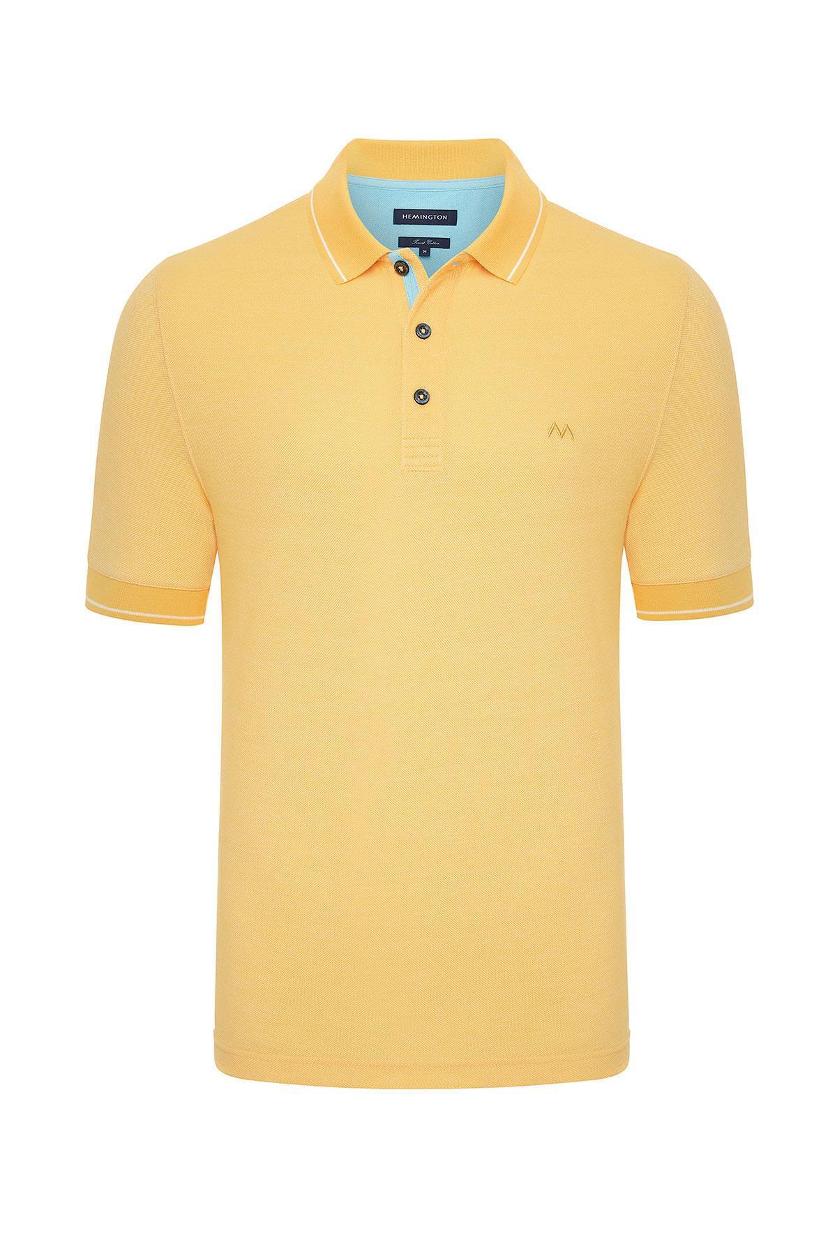 Sarı Basic Pike Pamuk Polo T-Shirt