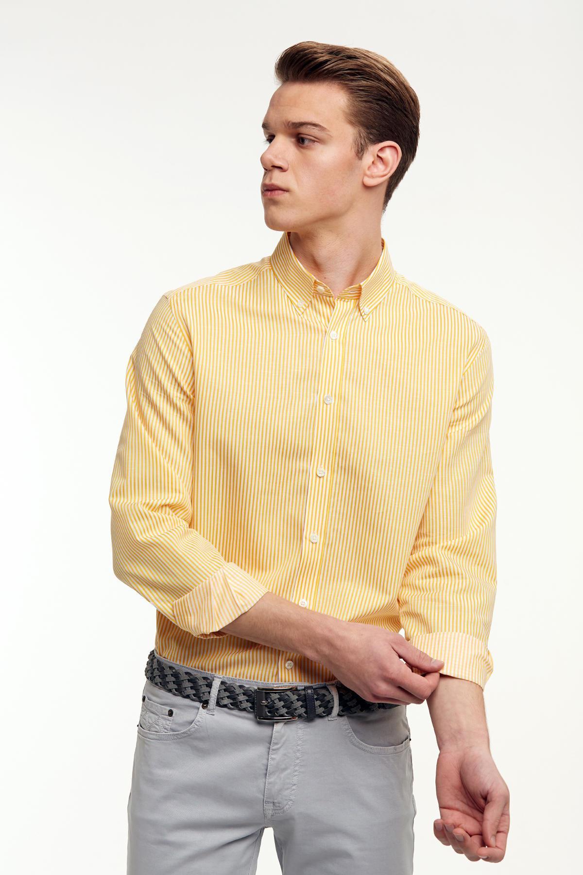 Sarı Beyaz Çizgili İnce Spor Gömlek