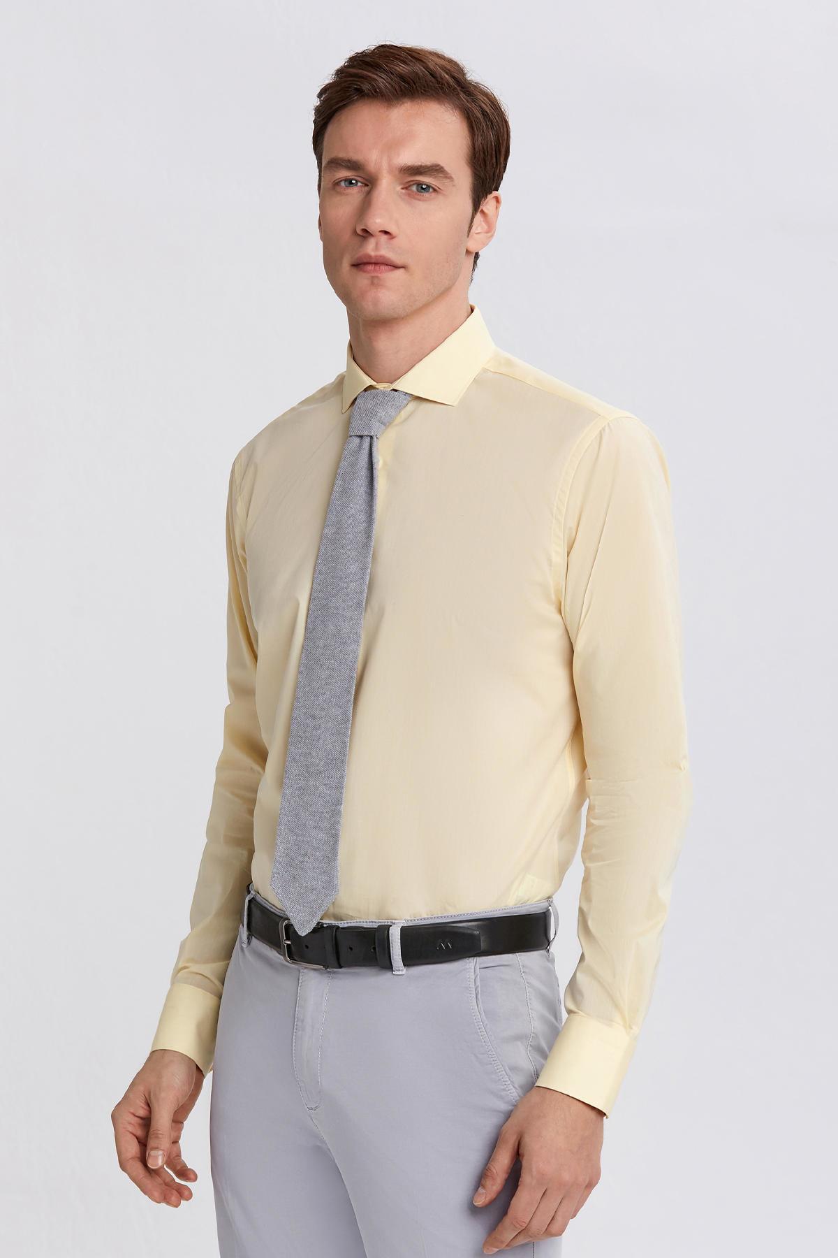 Sarı İtalyan Yaka Pamuk Business Gömlek