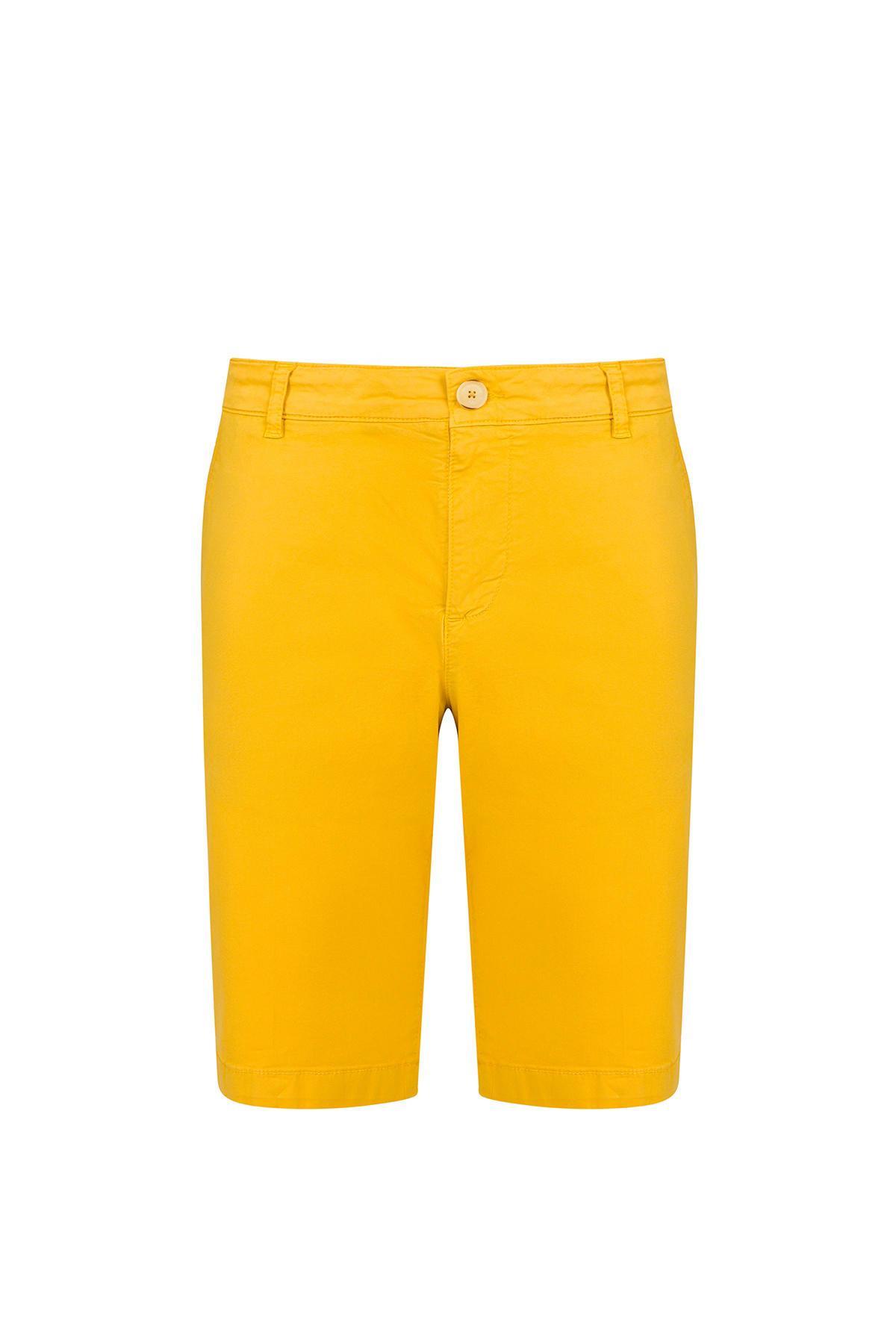 Sarı Pamuk Chino Bermuda Şort