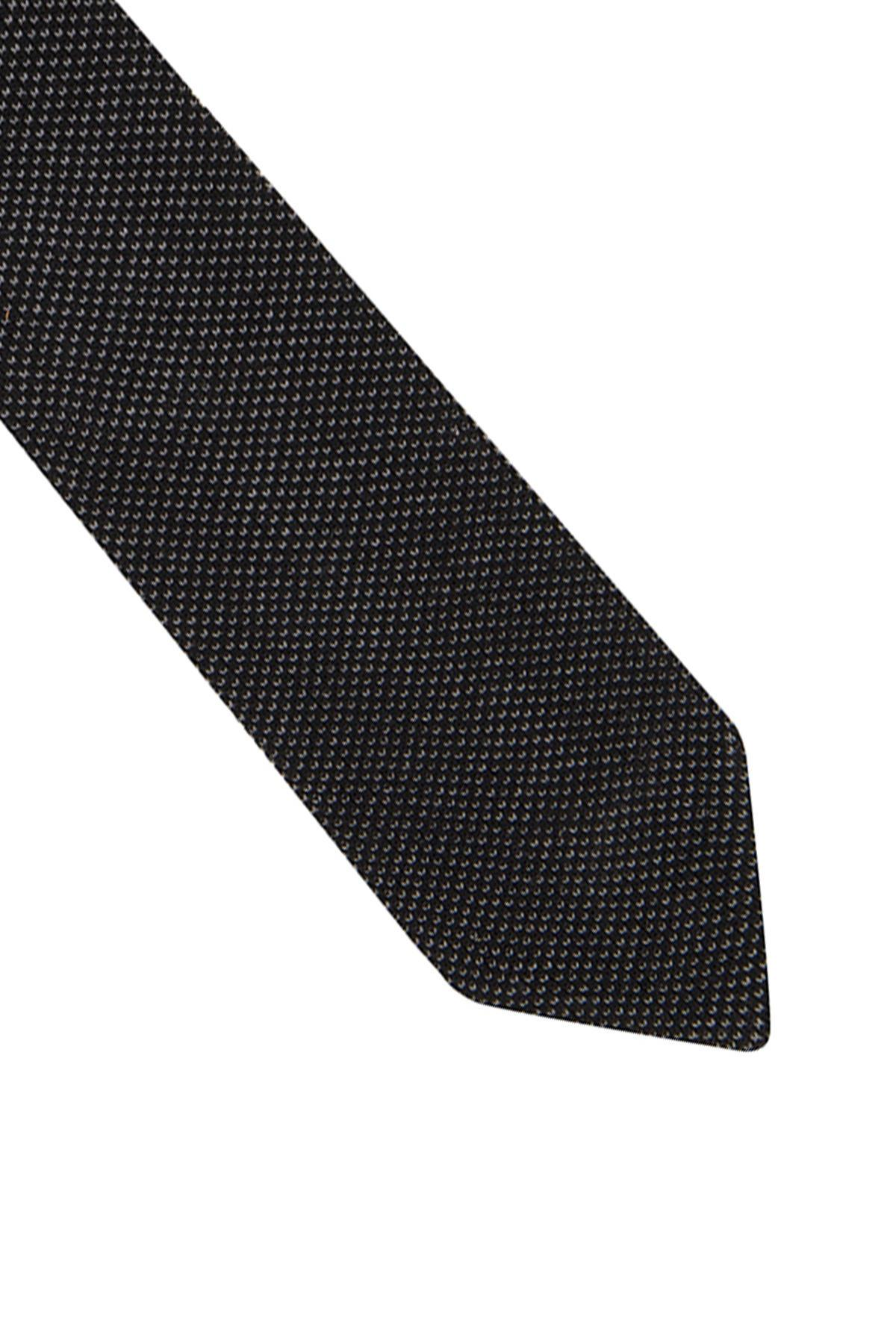 Siyah Gri Mikro Desen Örgü Kravat