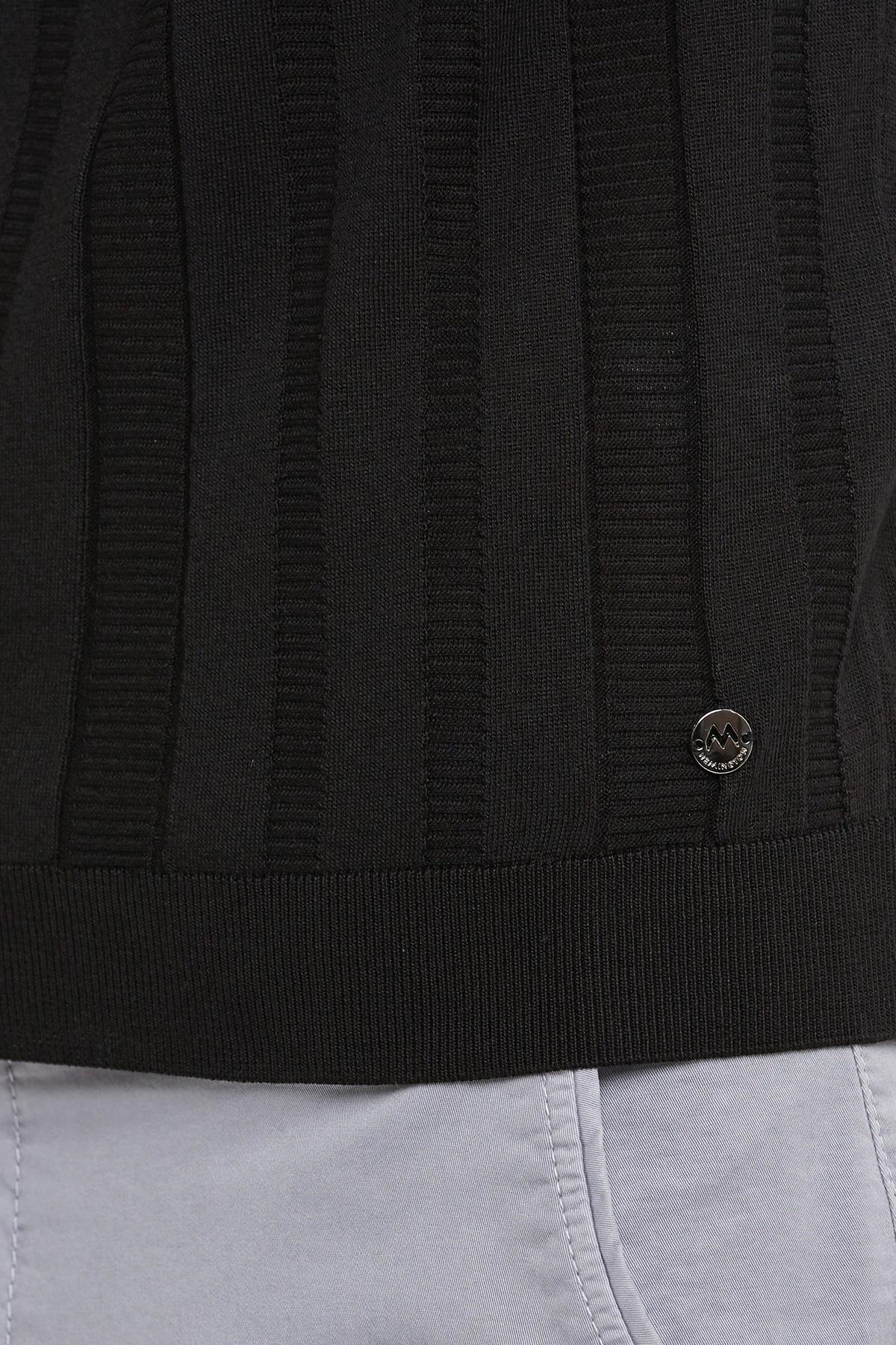 Siyah İpek Yazlık Triko Polo