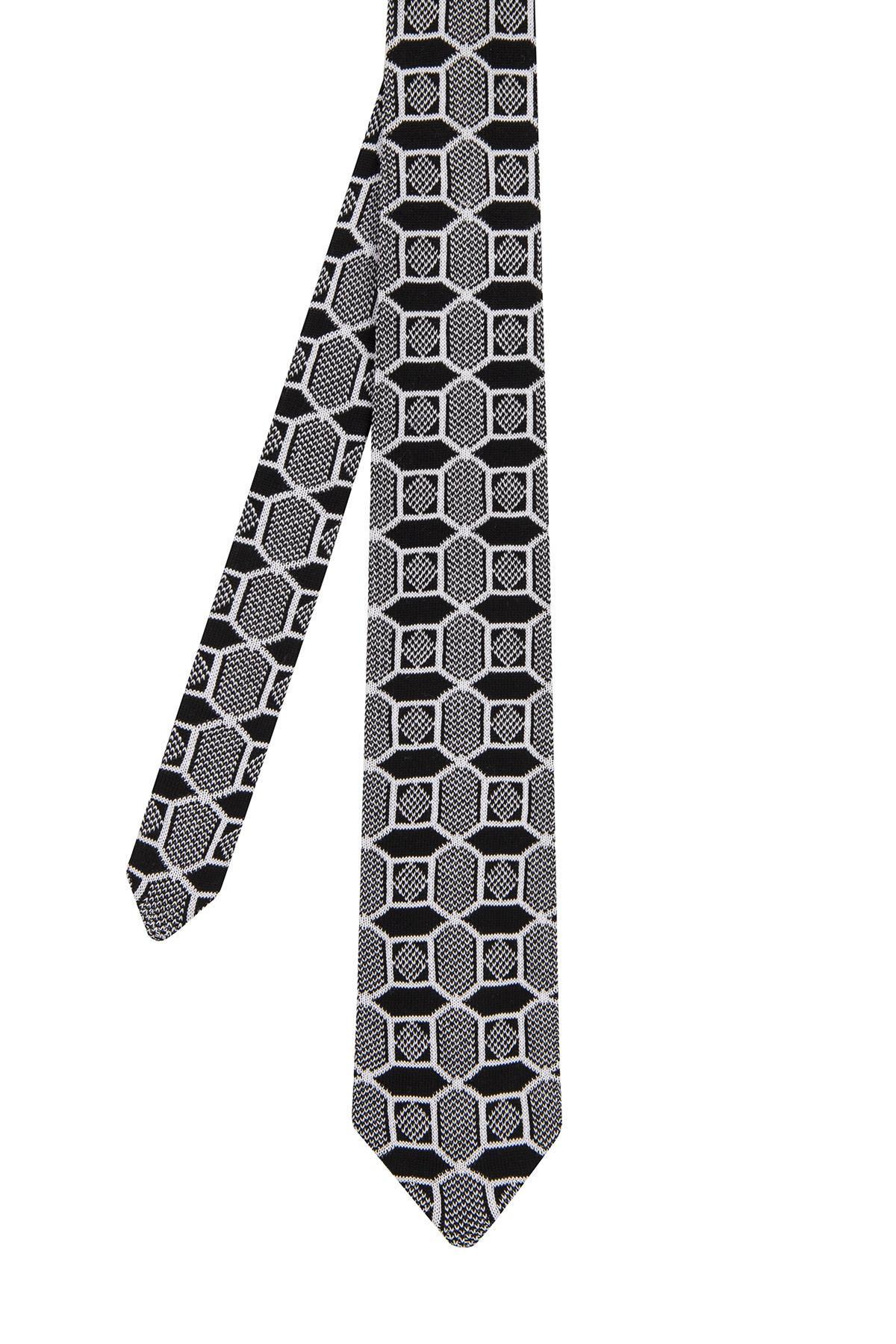 Siyah Karo Desenli Örgü Kravat