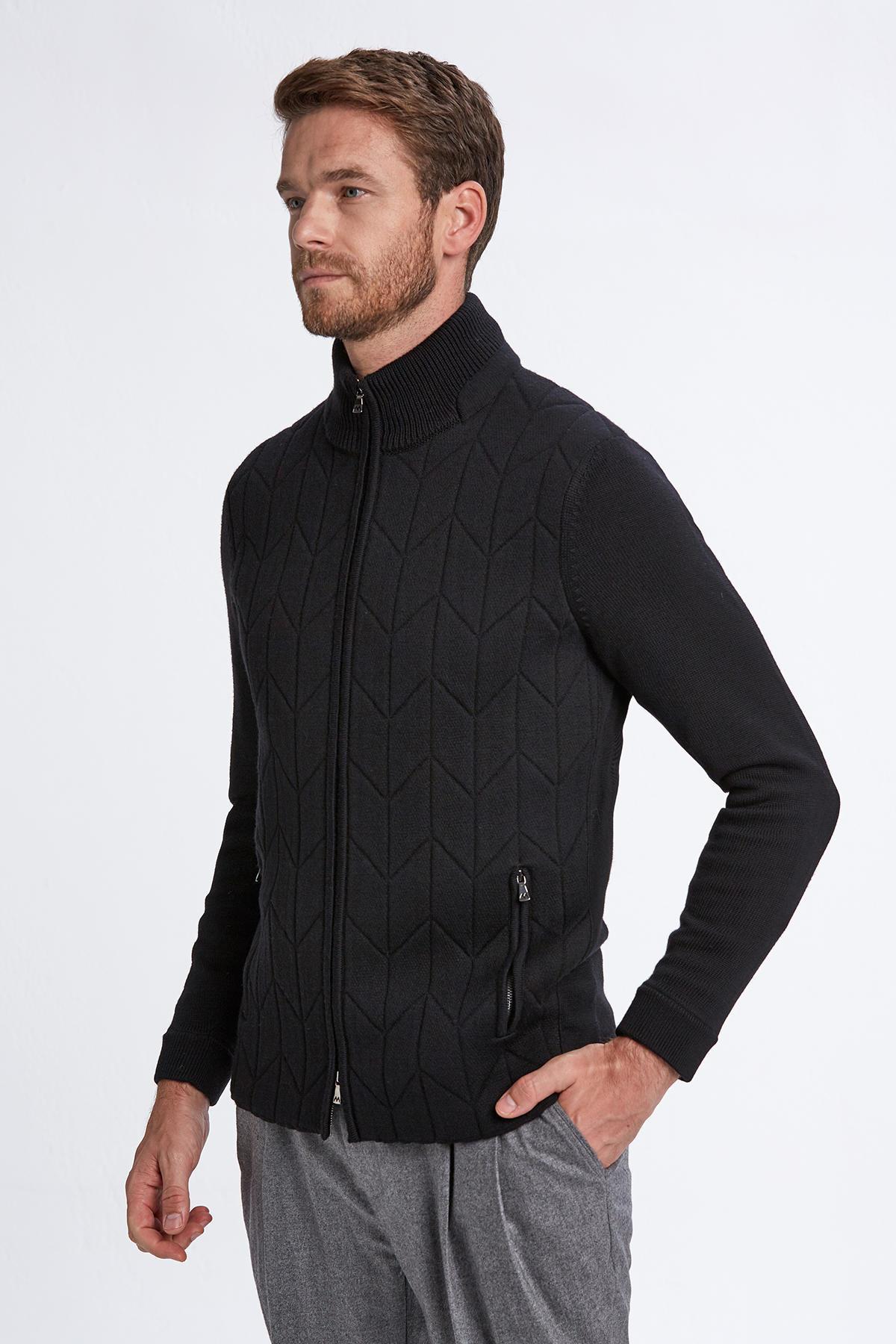 Merino Yün Siyah Activewear Triko Mont