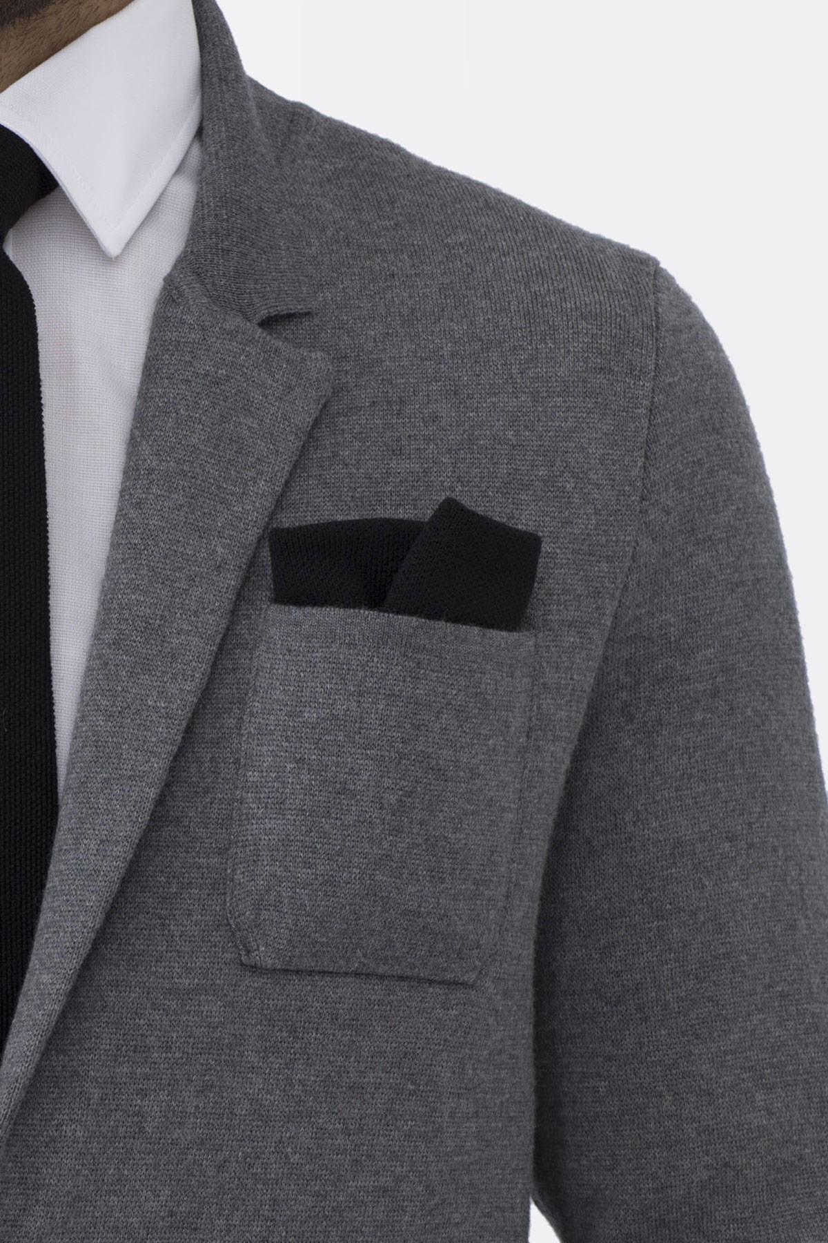 Siyah Örgü Ceket Mendili