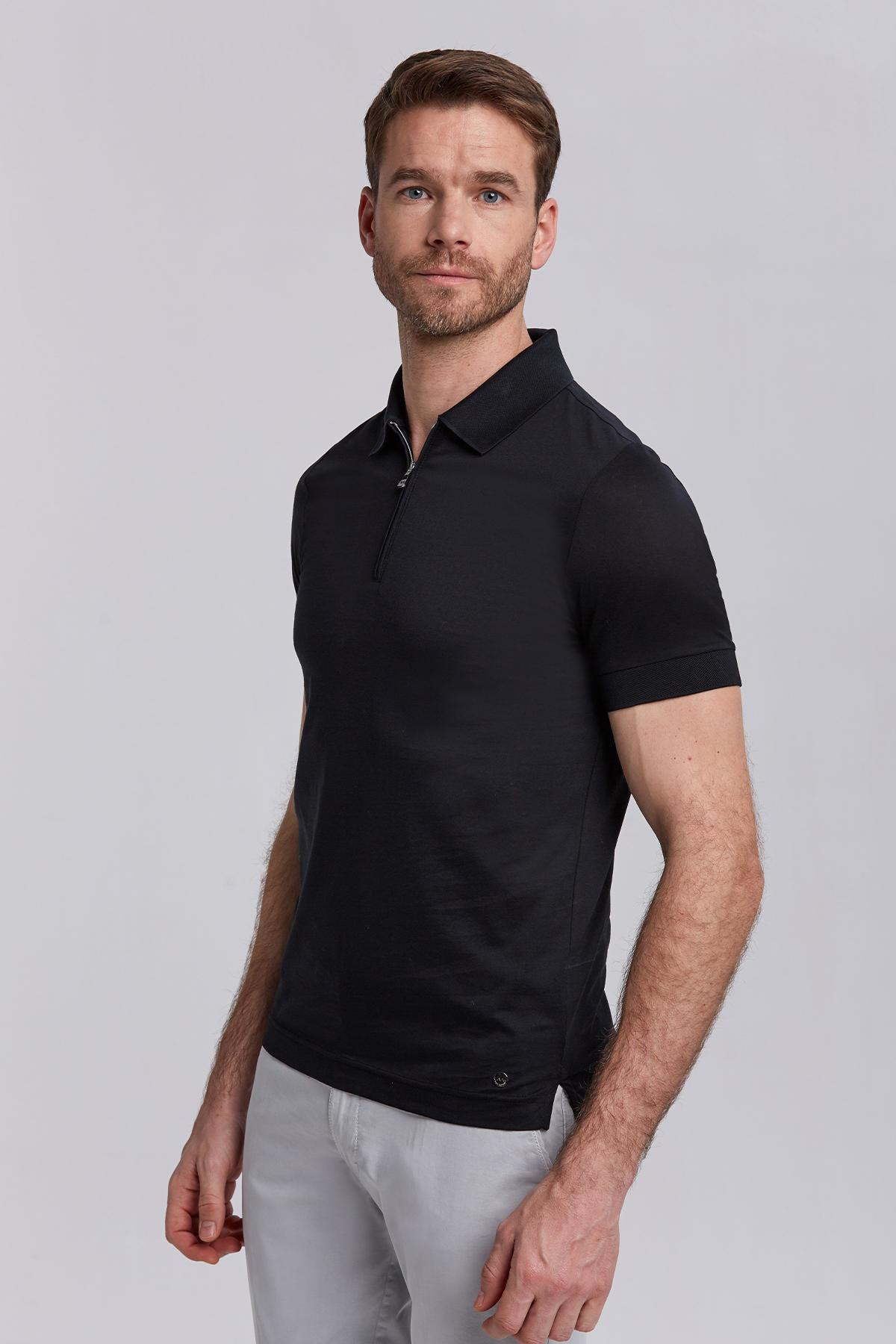 Siyah Pamuk Fermuarlı Polo Yaka T-Shirt