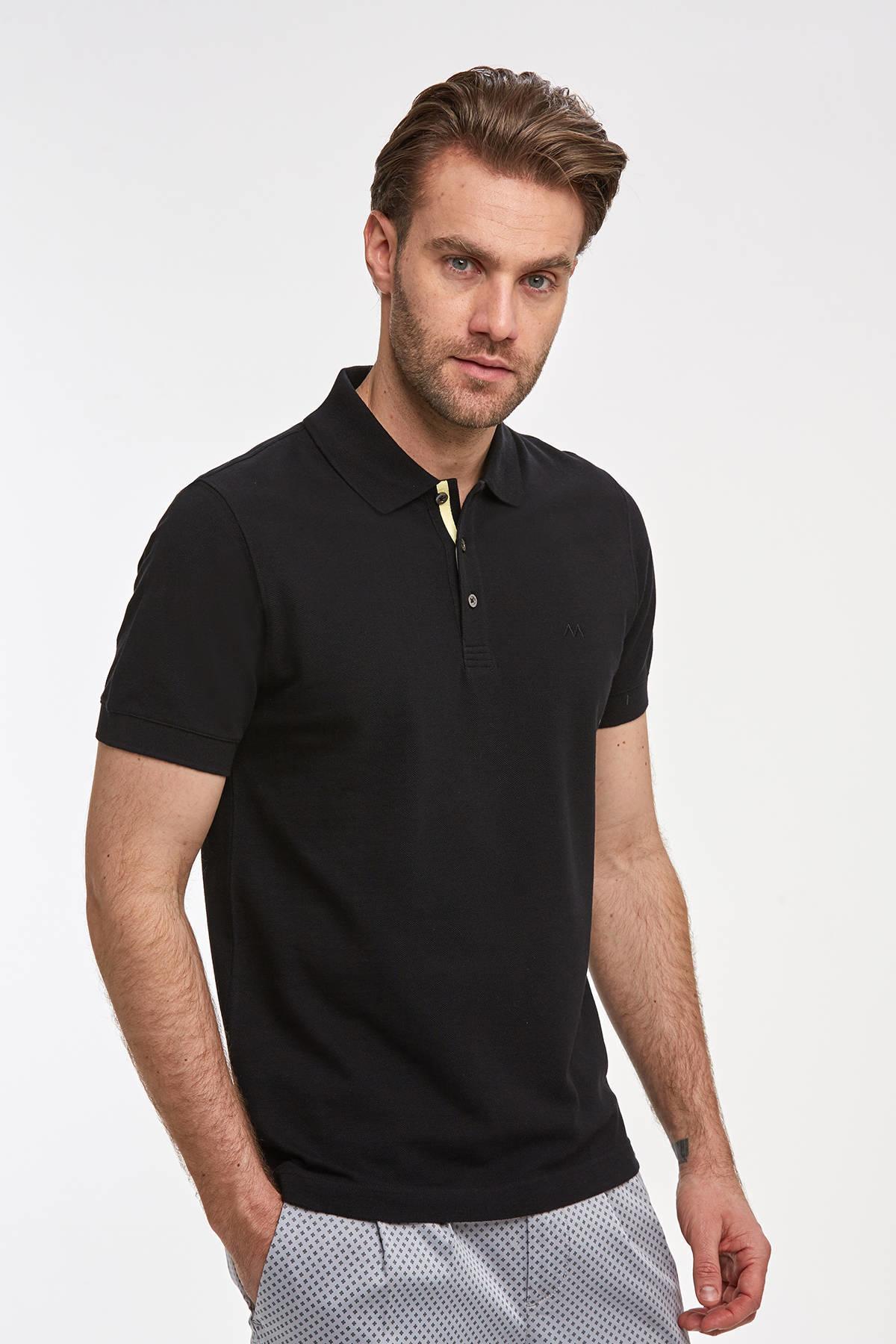 Pike Örgü Siyah Polo Yaka T-Shirt