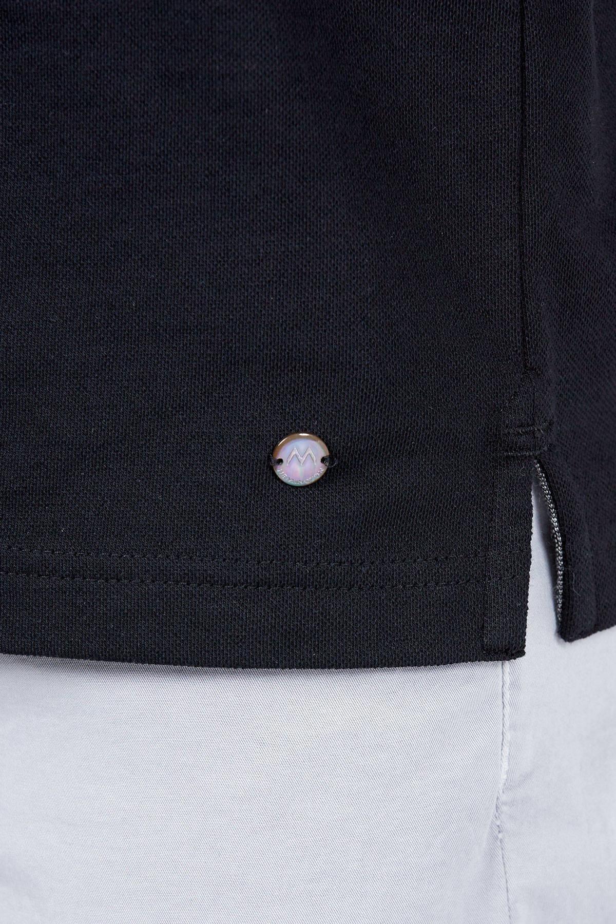 Siyah Polo Yaka Pamuk T-Shirt