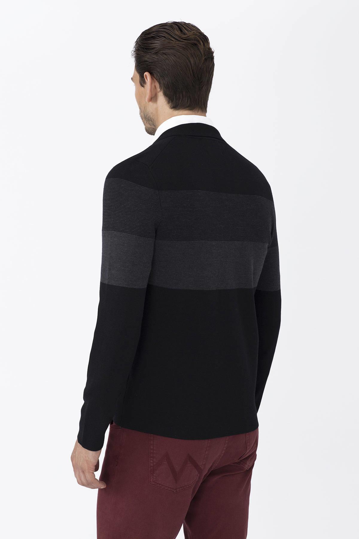 Extrafine Merino Slim Fit Siyah Triko Ceket