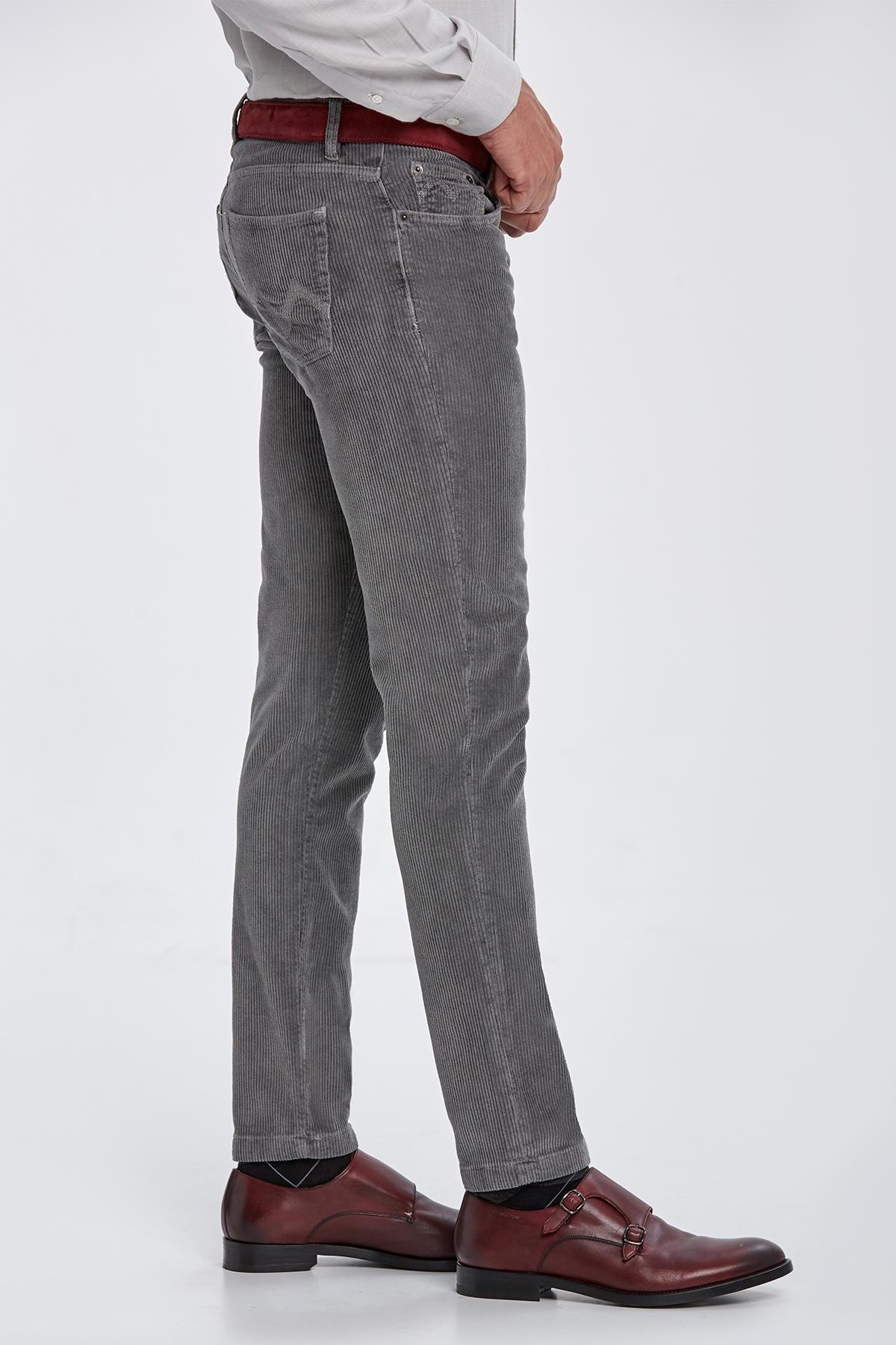 Slim Fit Gri Kadife Pantolon