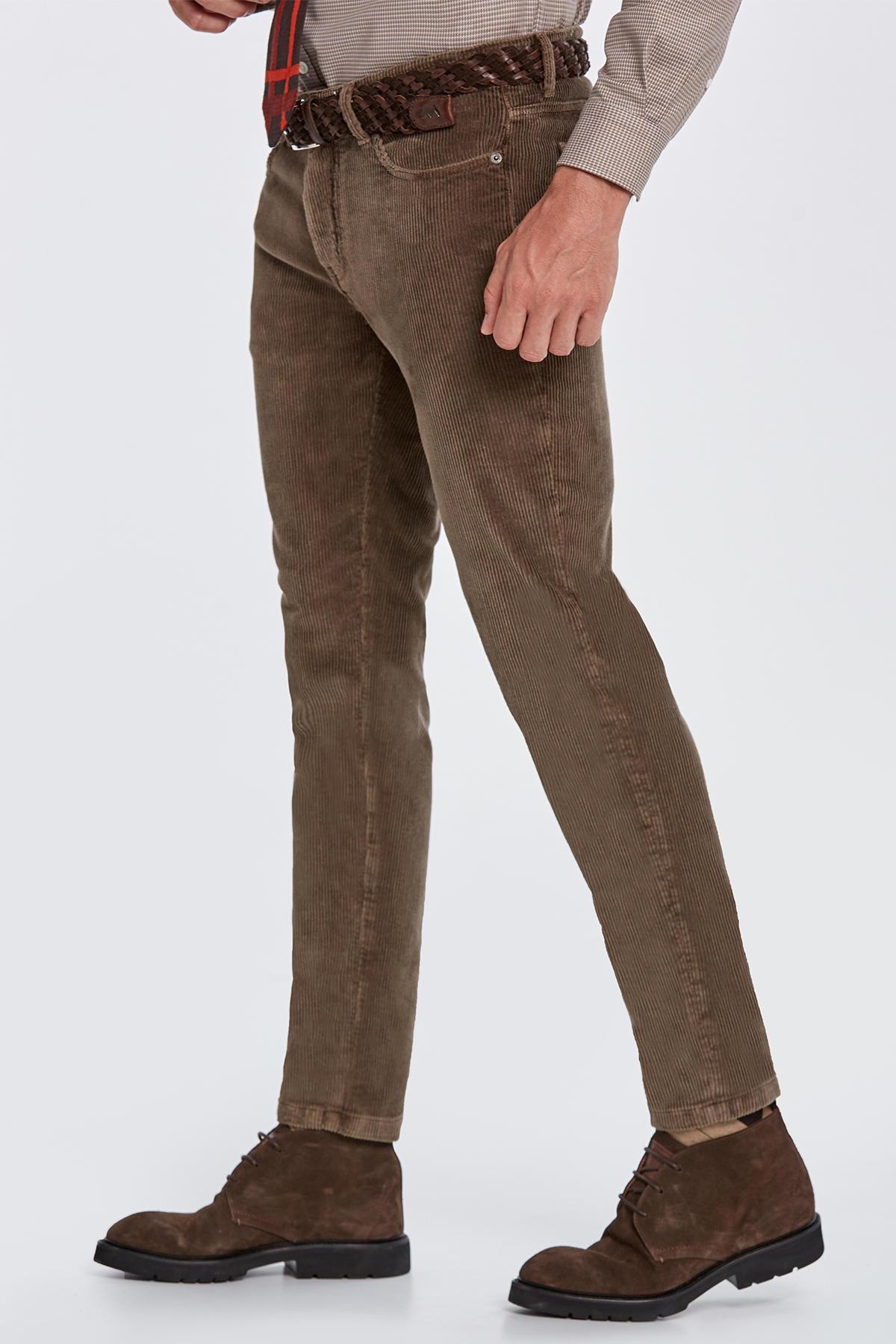 Slim Fit Tütün Kadife Pantolon