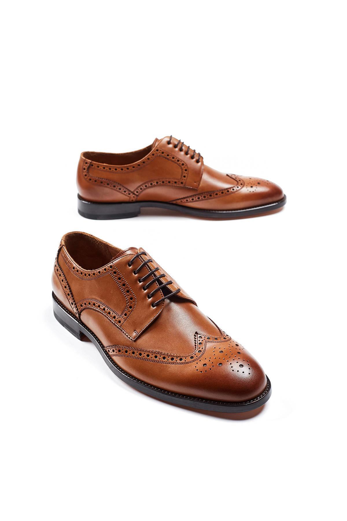 El Yapımı Taba Rengi Klasik Deri Ayakkabı