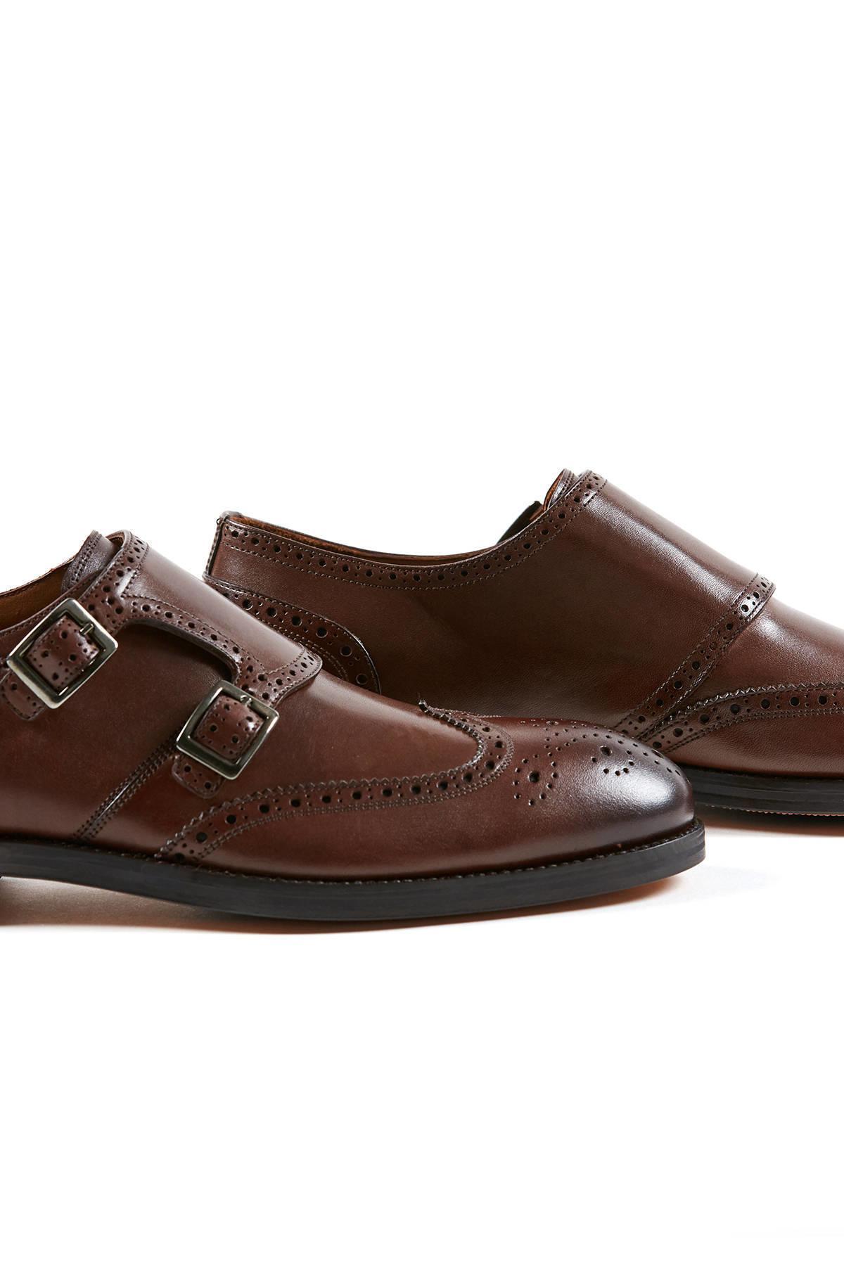 Tokalı El Yapımı Kahverengi Deri Ayakkabı