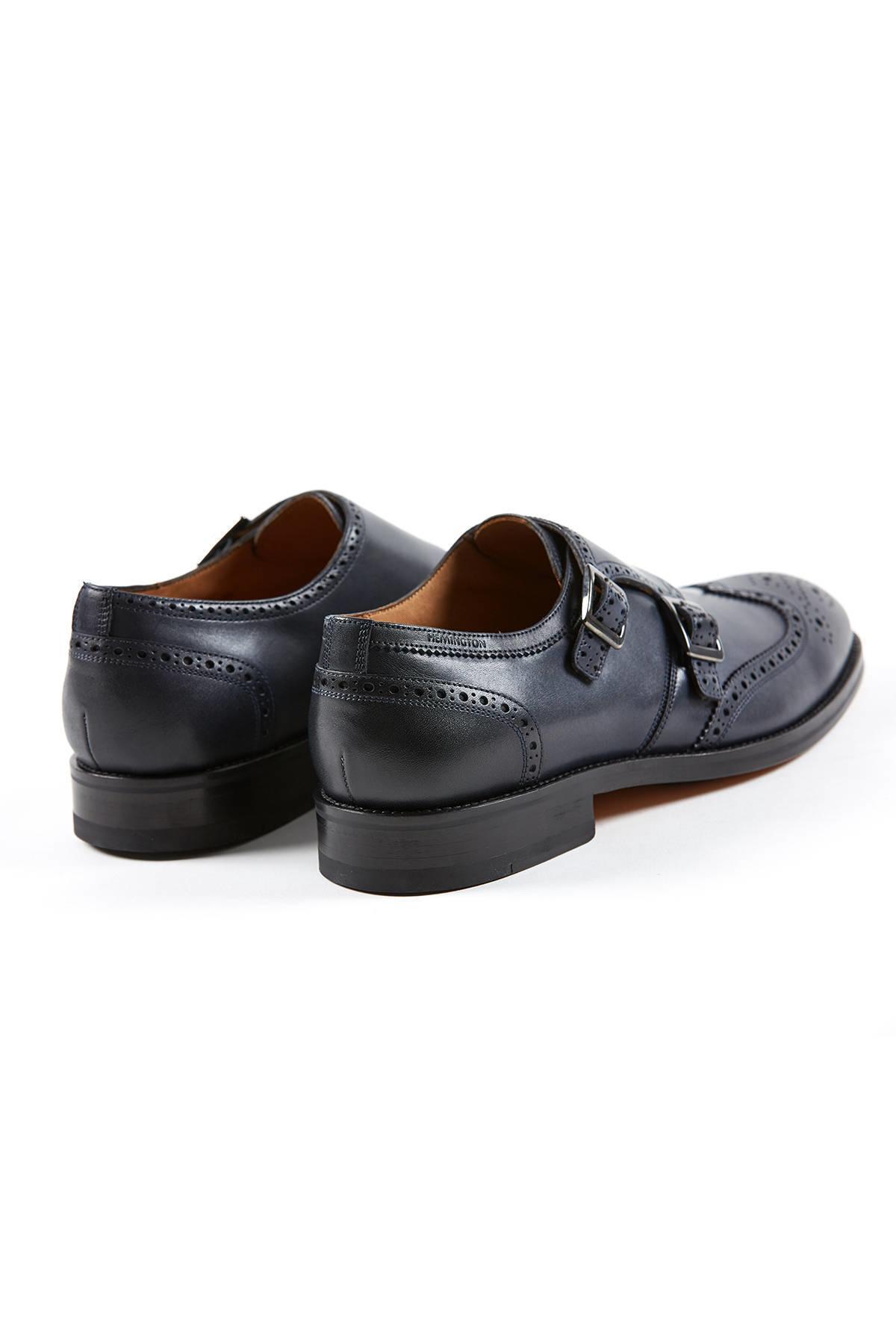 Tokalı El Yapımı Lacivert Deri Ayakkabı