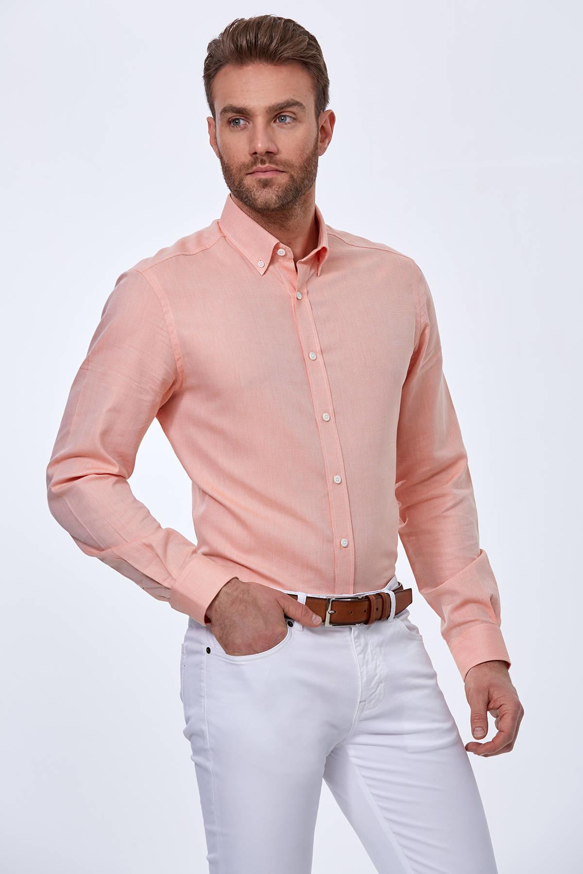 Turuncu Yazlık Oxford Pamuk Gömlek