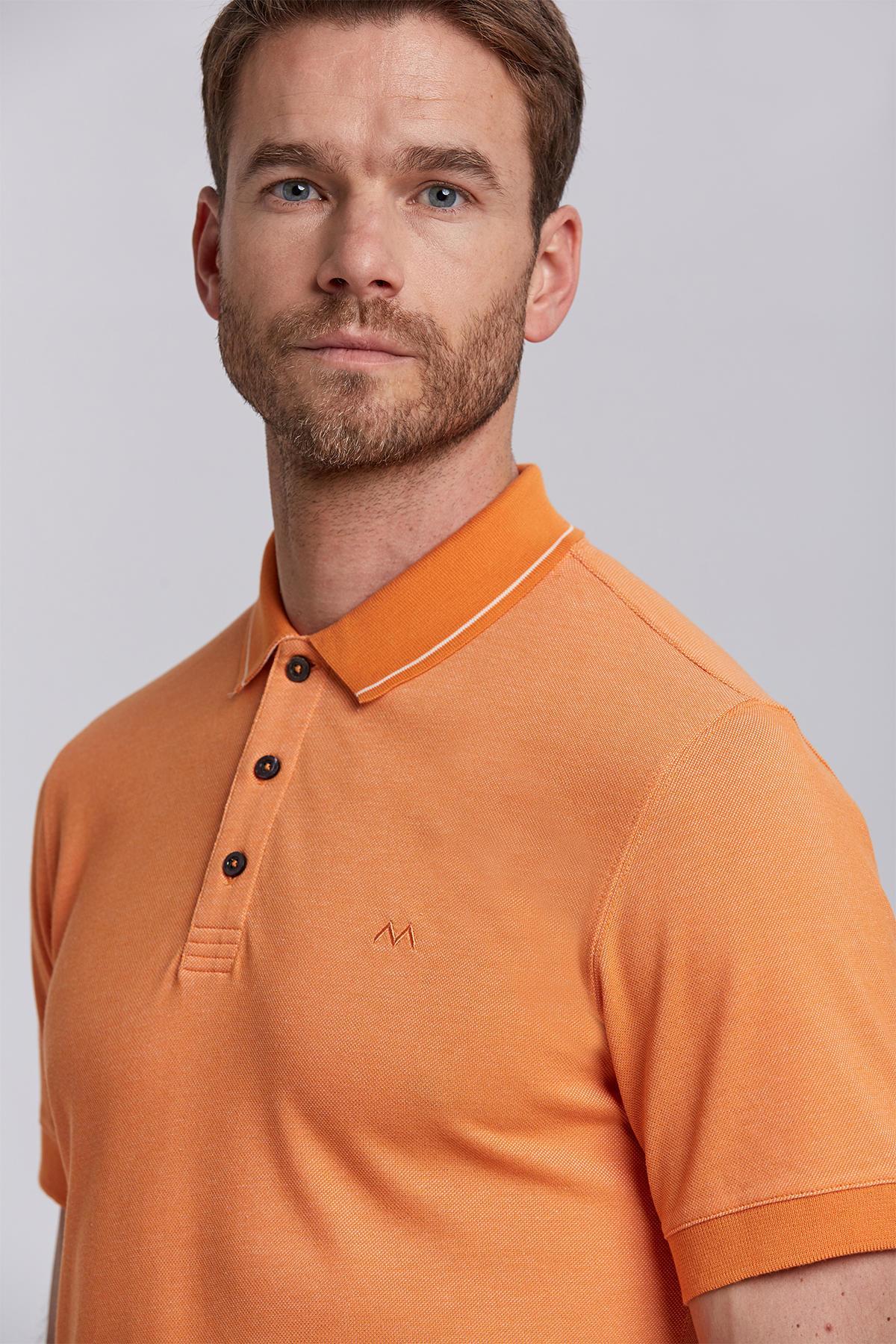 Pike Örgü Turuncu Polo Yaka T-Shirt