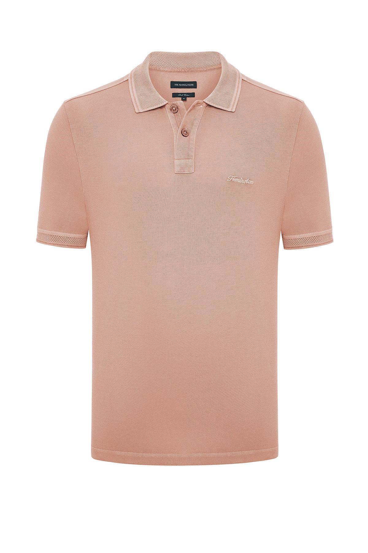 Vintage Görünümlü Somon Rengi Polo Yaka T-Shirt