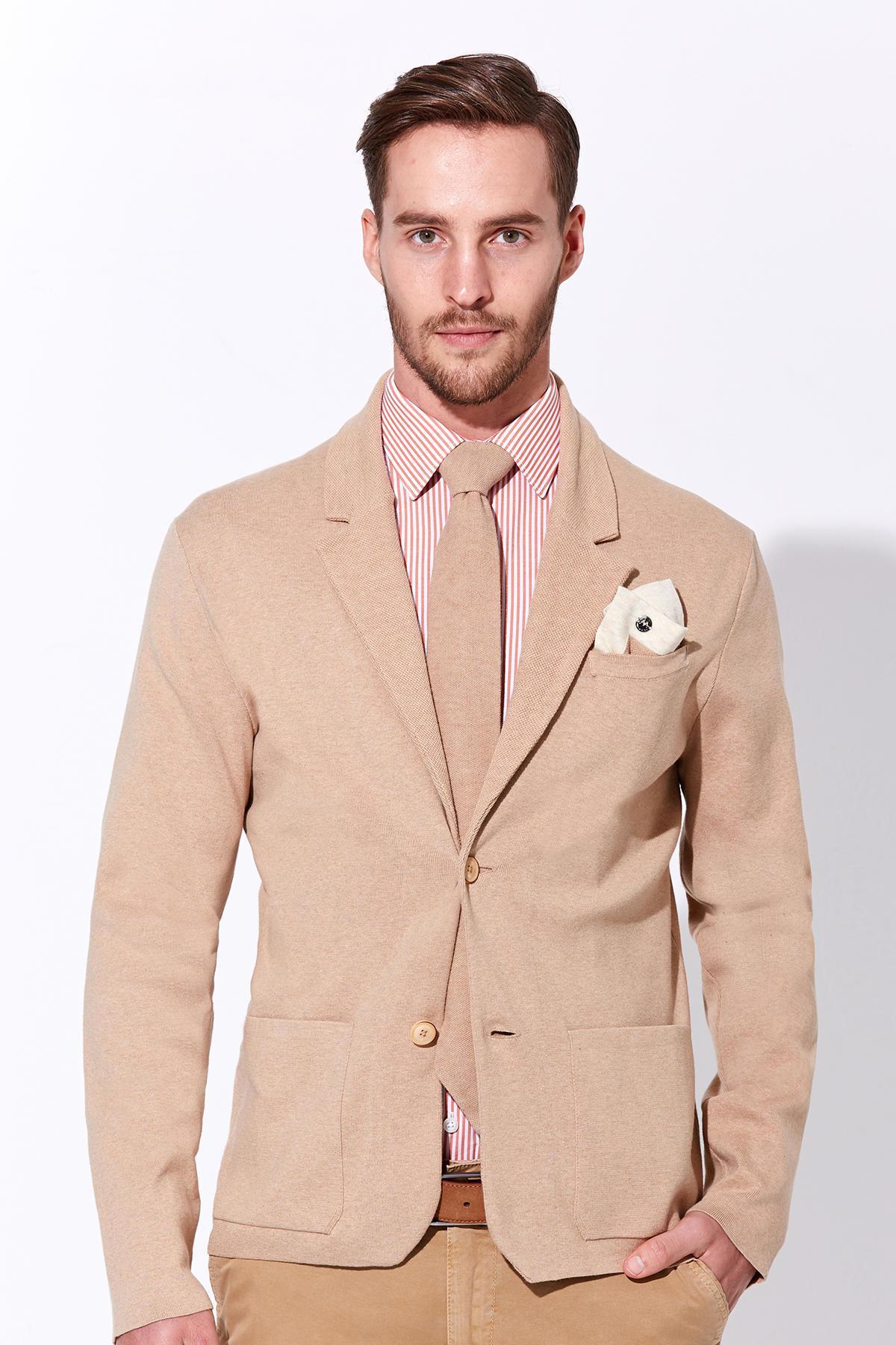 Camel Yazlık Triko Ceket