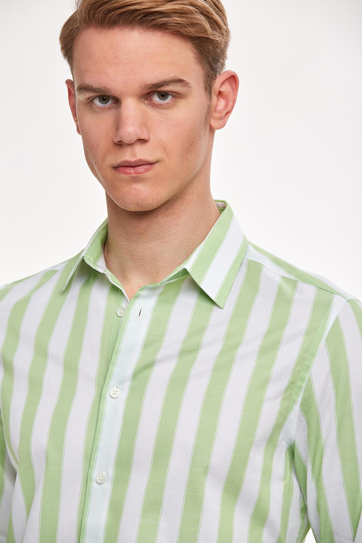 Yeşil Beyaz Kalın Çizgili Pamuk Spor Gömlek