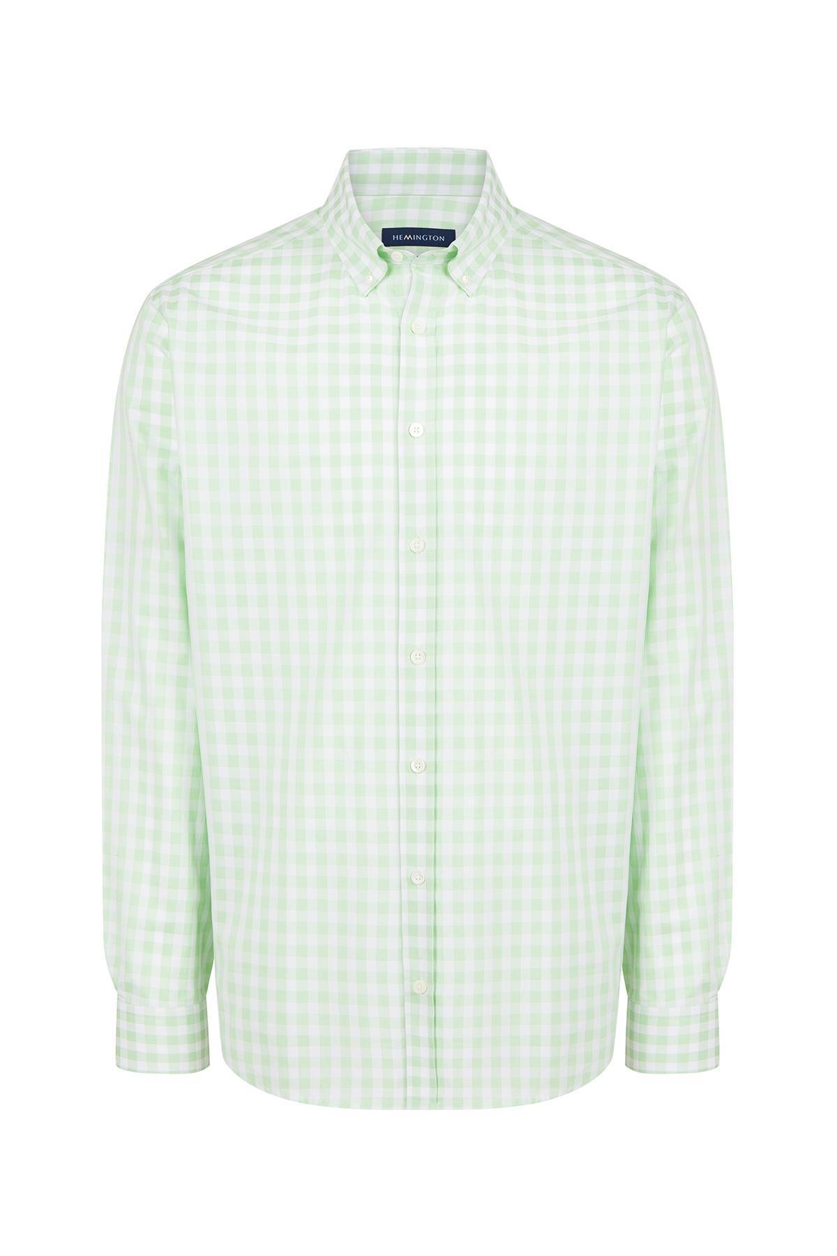 Yeşil Beyaz Kareli Spor Superfine Pamuk Gömlek