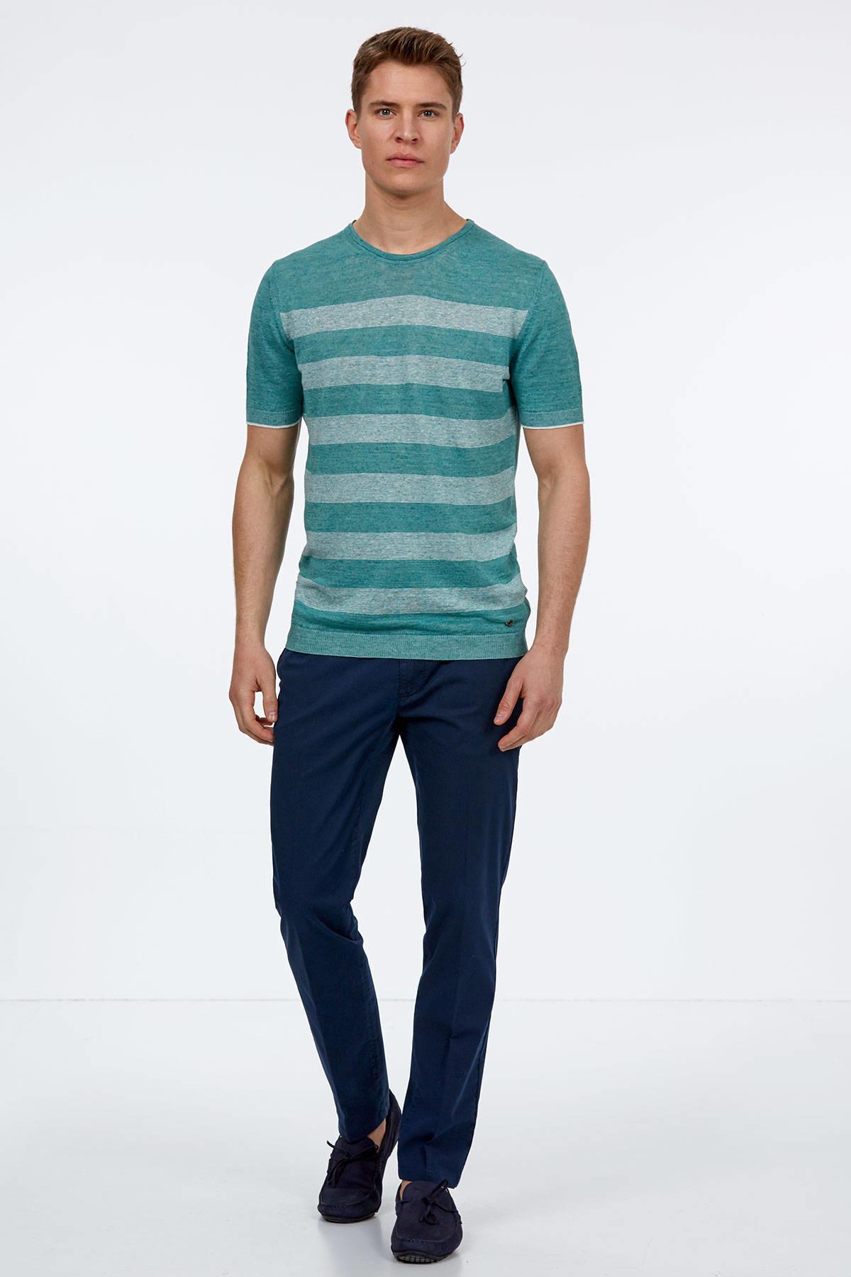 Yeşil Keten Triko T-Shirt