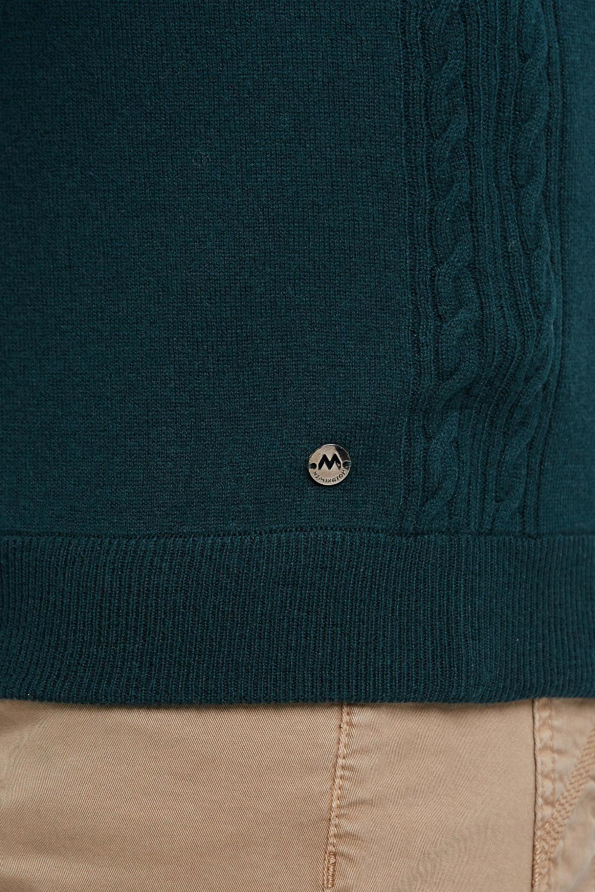 Lambswool Yün Fermuarlı Koyu Yeşil Hırka