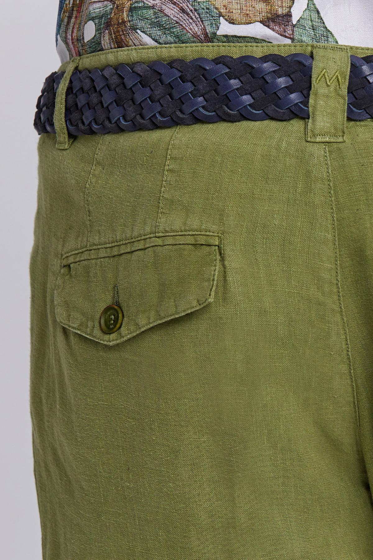 Yeşil Saf Keten Pileli Pantolon