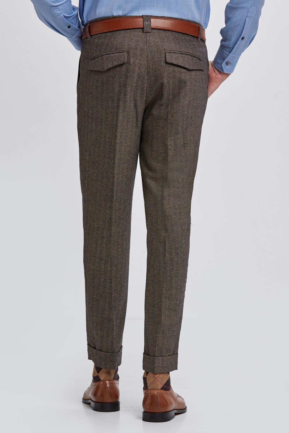 Yün Kaşmir Kum Rengi Chino Pantolon